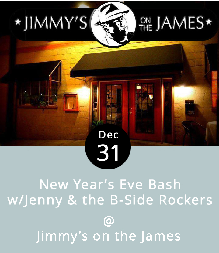 The folks in the kitchen at Jimmy's on the James are setting aside their standard menu of somewhat-southern-with-a-nice-touch-of-Louisiana-style cooking for a special New Year's Eve celebration. Diners will have the option of choosing between two festive three-course feasts. The local rockabilly band Jenny & the B-Side Rockers will be on hand to help swing in the New Year. And, the champagne, as well as a full array of Jimmy's signature drinks will be flowing, as the crowd counts down the final hours of 2016. Reservations are recommended because last year Jimmy's was at full capacity for the New Year's Eve bash. And, this year Jimmy's is teaming up with Brew Ridge Tours to offer a package deal for $198 a couple, including a Lynchburg pub-crawl, dinner at Jimmy's, $10 toward a bottle of wine or champagne, and transportation from within Lynchburg and surrounding areas. For info and reservations for the Brew Ridge Tours event, call Josh at (434) 381-4099, or book online at  http://www.brewridgetours.com . To make reservations at Jimmy's, call (434) 845-1116. Jimmy's on the James is located downtown at 619 Commerce St., just a couple of stone's throws from the James River.