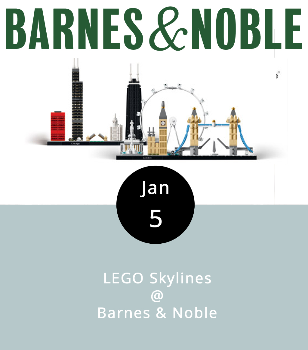 Imagine peering out over the vast and varied London skyline. Imagine it's all made of LEGOs. Now, imagine that you get to build it. That's the plan, as Barnes & Noble hosts its second Skyline Build this evening from 7-9 p.m. Participants will work together to create the skylines of two great cities, London and Chicago, for the store's new displays. Tables will be set up for the construction project, but, if they become too crowded, you can always browse the store's selection of more modest LEGO architecture kits. We hear they have books, music, and other stuff too. They'll also have an area set up for kids, presumably with the chunkier Legos that are harder to eat. The café will be open for the duration of the event. The store is located at the Wards Crossing Shopping Center, 4024 Wards Road; call (434) 239-8688 for more info.     B     arnes & Noble Events