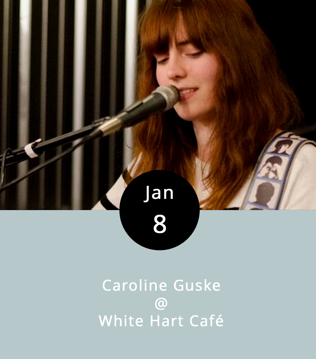 Singer-songwriter Caroline Guske is lending her smoky vocals to the White Hart Café for the evening of January 8th. Starting around 7 pm, just pull up a chair, lean back, and have a sip of White Hart Snow, their specialty mocha, or even one of their seasonal drinks (Rudolph Latte, anyone?) while Ms. Guske performs both original songs and covers of the pop-ish variety. For more information, call  434.207.5600 . The White Hart is located at 1208 Main Street, Lynchburg, VA 24504.   C aroline Guske
