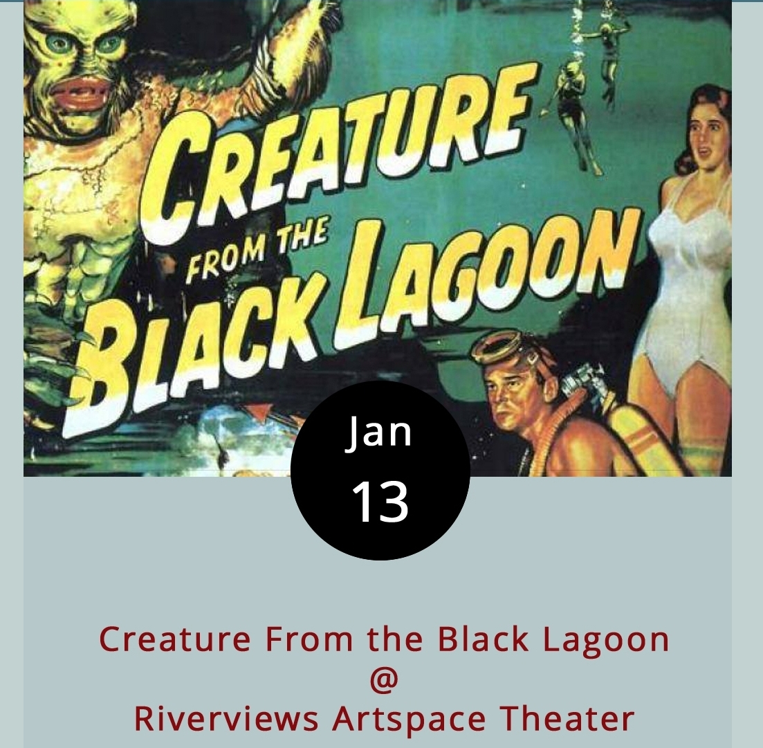 It's not just any Friday, it's Friday the 13th. And, while there are a series of films that address that issue head on, there are also some true Hollywood classics that are just plain appropriate for such a date. Jack Arnold's cult sci-fi favorite  Creature From the Black Lagoon  is one of those classics. Will the lovely Kay escape the clutches of the grotto-dwelling Gill-Man? Good question. Find out when Riverviews hosts a special screening of the film tonight at 7:30. The screening is part of a film noir classics series that Riverviews started last year. The evening begins with a brief introductory talk by local artist and film buff Ken Faraoni. Riverviews is located at 901 Jefferson St. Tickets are $6; call (434) 847-7277 for more info or click    here   .
