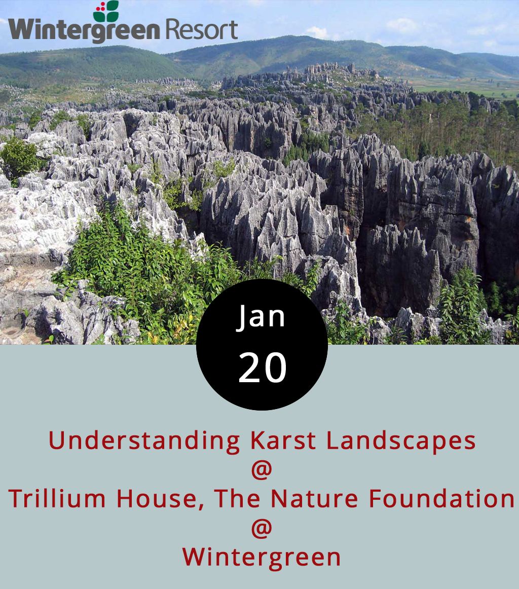 The Nature Foundation at Wintergreen is devoting an evening to the wonders of karst landscapes. What's a karst landscape? It's got something to do with topography, sinkholes, andcaverns, and it's something you find in the Wintergreen area. Retired hydrogeologist Dr. Craig Ashbrook knows more about it than we do. He'll explain the peculiarities of sinking streams and waterways as part of the Trillium House lecture series on western Virginia landscapes. The lecture starts at 7 p.m. at 3421 Wintergreen Dr., Wintergreen. Tickets are $10 for Nature Foundation members and $15 for the general public. Call (434) 325.8169 for more info or click    here   .