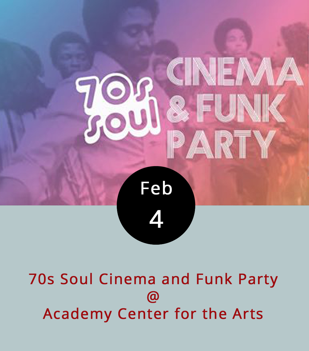 The Academy Center for the Arts is celebrating the legacy of the old Warner Theater on Main Street with an evening of funktastic films that may once have screened at the cinematic landmark and a live music dance party. For just 10 bucks, you get a pass that allows you to come and go as you please all afternoon. The cult classic  Car Wash  (1976), a semi-musical comedy with a cast that includes Richard Pryor, George Carlin, and the Pointer Sisters, kicks things off at 3 p.m. Then, at 5 p.m., it's  Foxy Brown , a badass revenge flick from 1974 starring none other than Pam Grier in the title role. Next up at 7 p.m., and moving even further backwards in time, is the blaxploitation tour-de-force  Shaft  (1971), starring Richard Roundtree as the baddest cop on the block, John Shaft. Once the screenings are over, which should be around 9 p.m., the dancing begins, with music provided by Tony Camm and the Funk Allstars. Tickets are available from the  Academy's website , or by calling (434) 846-8499. The Academy Center for the Arts is located at 519 Commerce St.
