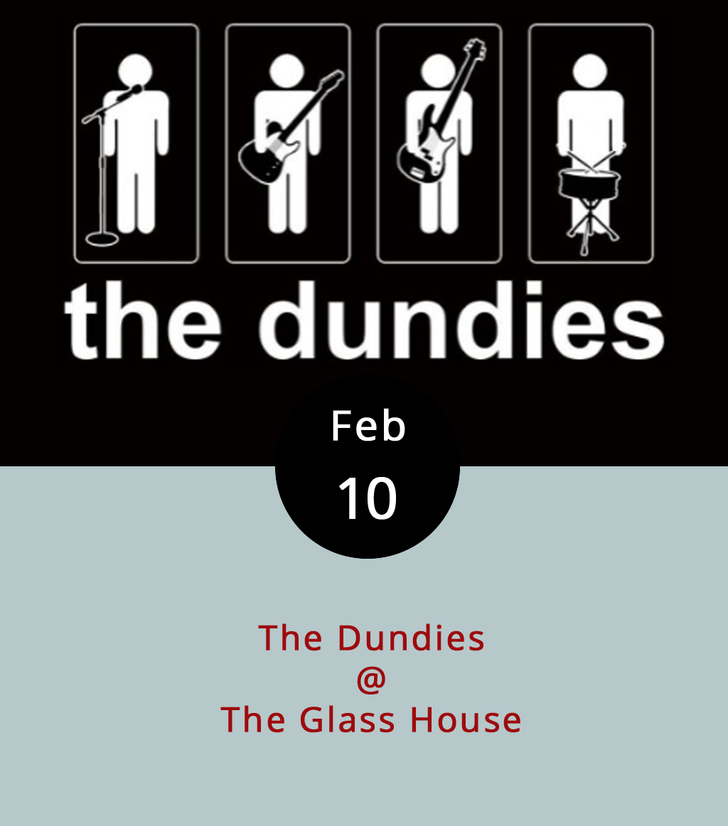 The cool-looking Glass House downtown on Jefferson Street is going to be rocking this evening thanks to The Dundies. The local cover band has a fairly wide repertoire, which we're told includes tunes by Bruno Mars, the Beatles, and Franz Ferdinand. Maybe they'll even take requests. The show's 21-plus, and starts at 8 p.m. Tickets are $5. For a sampling of The Dundies' stylings, check out their  Youtube channel . The Glass House is located at 1019 Jefferson St.; call (434) 544-1176.