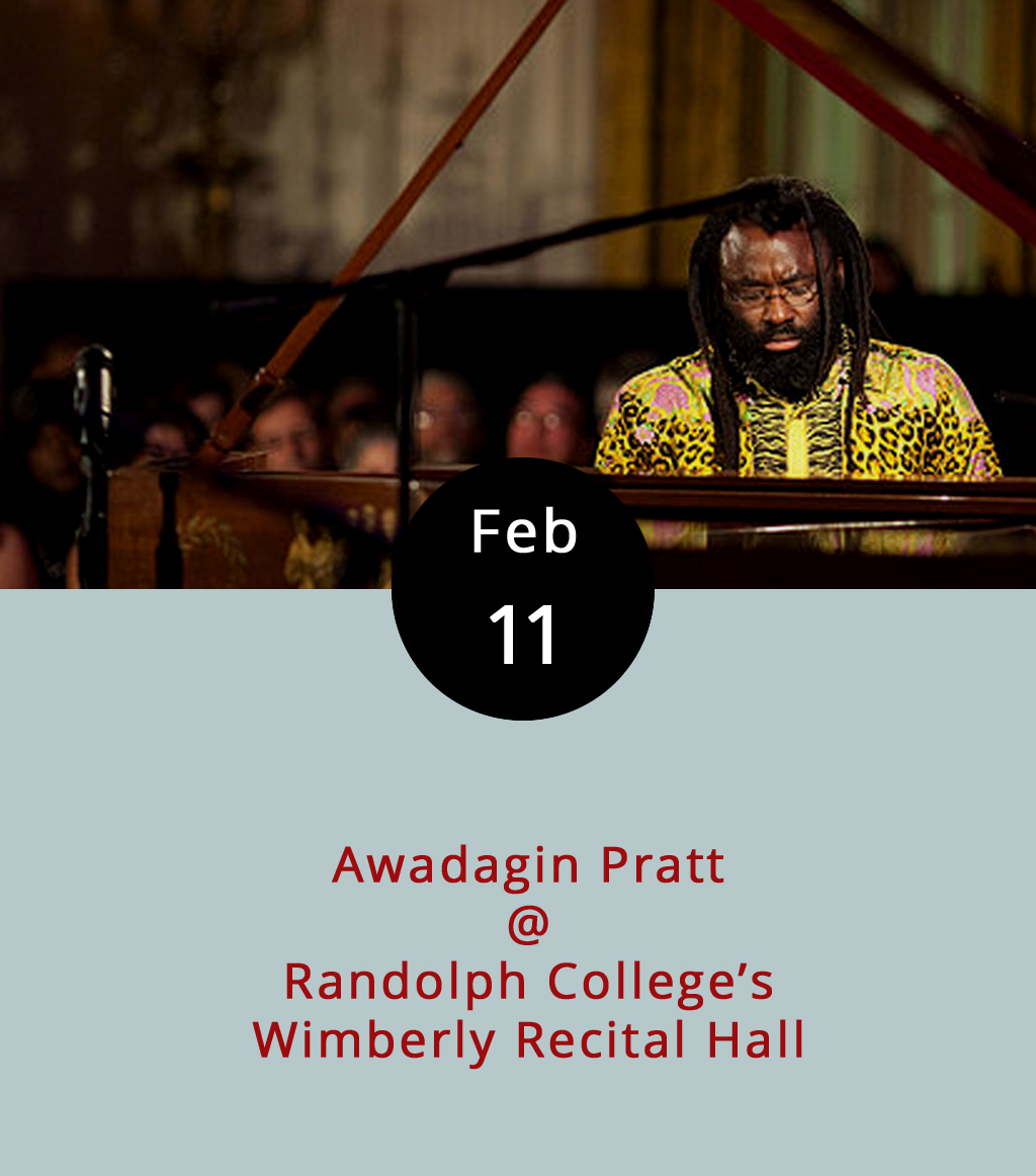 Let's see: Lincoln Center and the Kennedy Center in NYC; the Dorothy Chandler Pavilion in LA; and now Wimberly Recital Hall in Lynchburg, VA. That's right, the music department at Randolph College has snagged a fairly big star in the classical music scene for a solo performance tonight at 7:30 p.m. His name is Awadagin Pratt, he won the esteemed Naumberg International Piano Competition back in 1992, and it looks like he played with just about every major orchestra in the world over the past two decades. He's best known for his Beethoven sonatas, and for his recordings of Bach concertos. The Wimberly recital is free and open to the public. Wimberly's located in Presser Hall, 2500 Rivermont Ave.; call (434) 947-8000 or click  here  for more info.