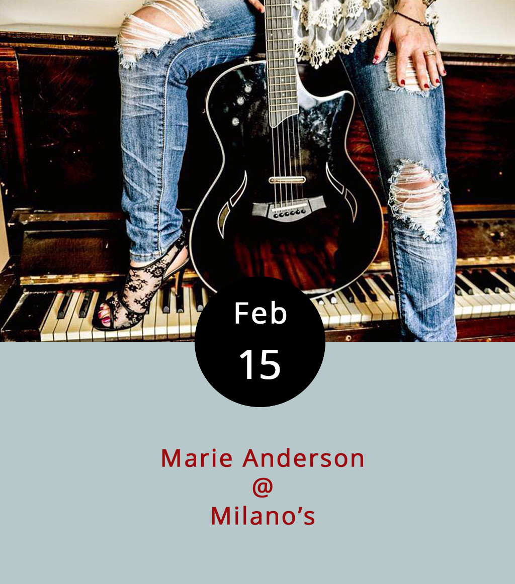 Marie Anderson is putting on a free show at  Milano's Italian Restaurant  (4327 Boonsboro Rd.). The self-described former shy kid now struts her stuff onstage in a variety of styles, from contemporary pop, to classic Johnny Cash, to her own original songs. Anderson's voice is warm and well suited to genre-hopping. Her set runs from 7:30-10:30 p.m., and Milano's offers a full menu of pizza, pasta, calzones, and entrees like chicken in the Piccata, Marsala, and Parmigiana styles. Click  here  to hear Anderson. Call (434) 384-3400 for more info.