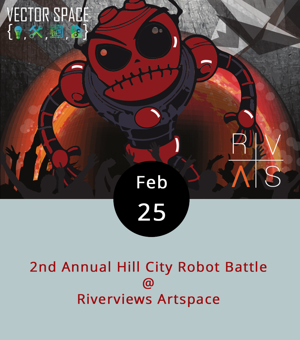 For the second year in a row, Riverviews Artspace has teamed up with Vector Space to present a full-on, mechanized melee, with local robot hotshots battling it out to see who's got the best bot. The battling begins at 1 p.m. at  Riverviews  (901 Jefferson St.) and should run until 5 p.m. Weather permitting, the arena will be outdoors. To register a robot, go to the Vector Space  website , which also has lots of handy information about the date of their next open-build night and some robot-building tutorials for inspiration. Registration for one-pound and three-pound robots is $30 per, or you can enter one of each for $45. The rules are posted here. Call Riverviews at (434) 847-7277, or Vector Space at (804) 387-1519 for more info.
