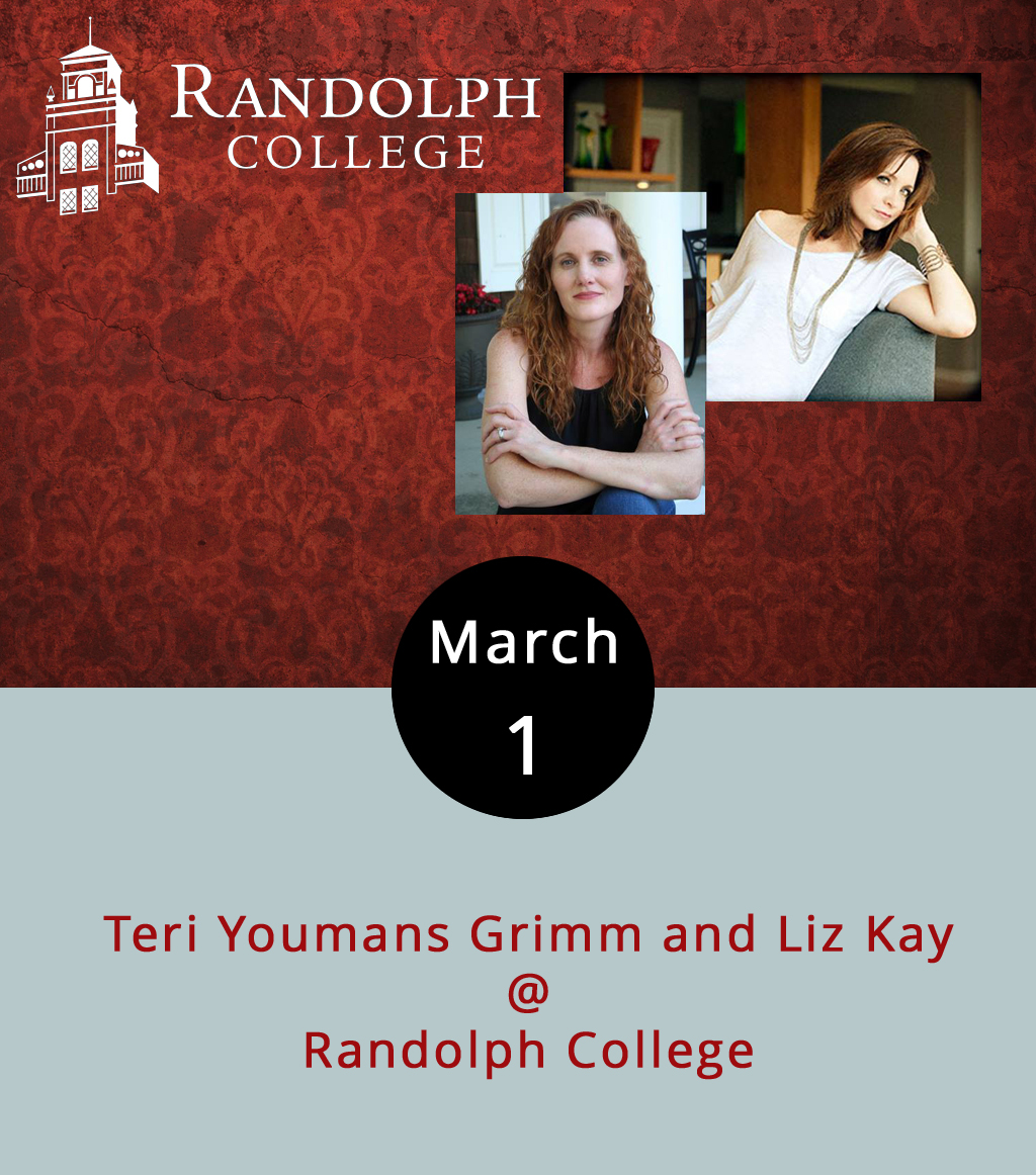 Teri Youmans Grimm is a poet from Florida, whose latest collection,   Becoming Lyla Dore  , uses the lyric form to dramatize the rise and fall of a fictional silent film star. Liz Kay is a Nebraskan, a poet, and a novelist, with a new book titled   Monsters: A Love Story  . Both attended the MFA program at the University of Nebraska, and they're teaming up for reading this evening at 8 p.m. at Randolph College. Light refreshments will be provided during the reading, which is free and open to the public. It takes place in the Alice Ashley Jack Lounge, on the second floor of the Smith Building (2500 Rivermont Ave.). This is part of Randolph's  Visiting Writers Series ; call (434) 947-8000 for more info.