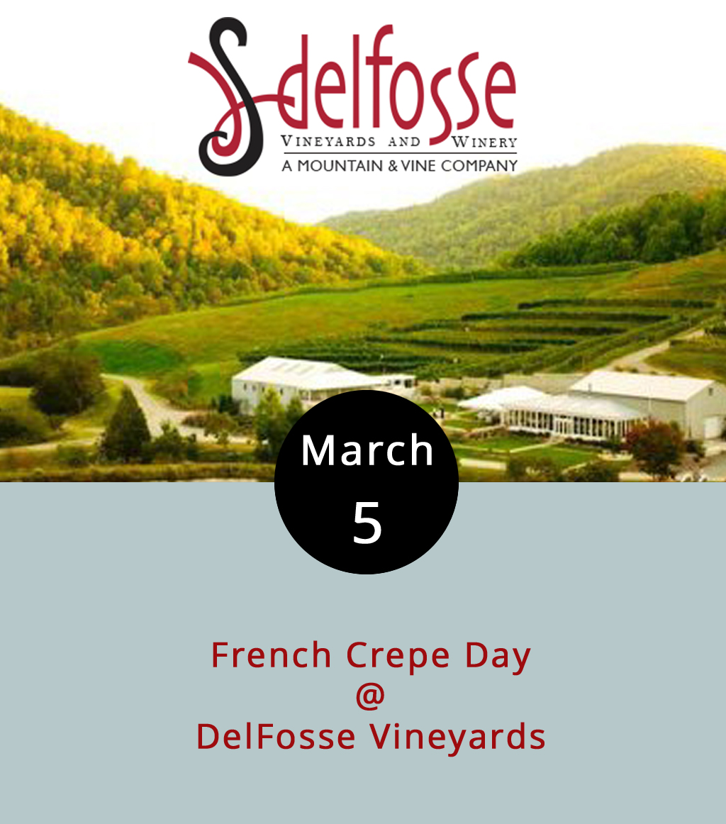 One of the lovelier things about living in Central Virginia is the presence of fine and picturesque wineries like DelFosse Vineyards in Faber, which is in the Monticello AVA wine region. It's a place that defines its own address (500 DelFosse Winery Ln.), offers tours of the only terraced vineyards in the state, and boasts lakeside picnic spots on its 330 acres. Today, DelFosse will even provide lunchables of the savory and sweet variety in the form of French crepes, as well as bread and soup. The event runs from noon-5 p.m., and you can check out the menu  here . For directions and more info about wine tastings at DelFosse, click  here , or call (434) 263-6100.