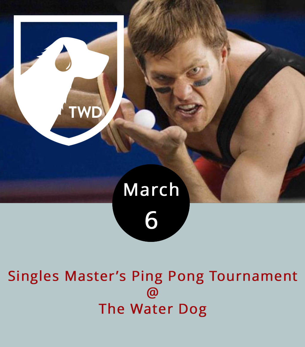 Think you're pretty good a ping pong? How about watching others who think they're pretty good at ping pong compete while sipping on a fine craft brew and/or enjoying some freshly shucked oysters? The Water Dog (1016 Jefferson St.) has you covered either way. Here's how the singles masters' ping pong tournament works: the first 16 players to sign up and invest a mere $5 compete in a bracket-style tourney with the winner taking all at the end of the night. It starts at 6 p.m., runs until a winner is crowned, and is free for spectators. Call (434) 333-4681 for more info or click  here .