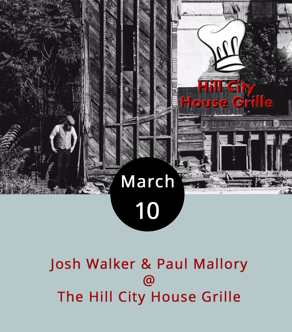 As mentioned previously, the  Hill City House Grille  (7001 Timberlake Rd.) will indeed by closing its doors at the end of the month. Not only that, local singer-songwriter Josh Walker, who's become a reliable mainstay of the local music scene, and who has entertained and amused hundreds if not thousands with his storytelling songs, his resolute strumming, and his formidably beard, is leaving town this summer to seek his fortunes in Colorado. In the meantime, he's playing his last Hill City House show tonight, with a little help from his fret-shredding friend Paul Mallory on lead guitar. That's from 7-10 p.m., and there's no cover charge. Call (434) 237-6110 for more info.