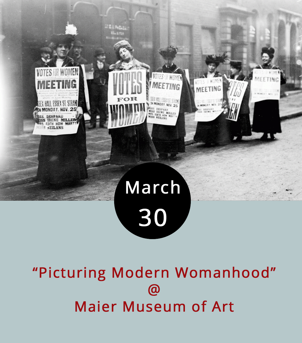 """When you peer across decades, it's hard not to notice the degree to which images of women reflect the tenor of an era, from the suffragettes  of the 1910s and the flappers of the roaring '20s, to WWII's riveting Rosies and the real real housewives of the post-war period. Karen Sherry is an art historian with the Virginia Museum of Fine Arts. She comes to the Maier Museum (1 Quinlan St.) to share her insights on the Modern Woman as seen through the lens of """"Suffragettes, Flappers, and Other New Women in American Art, 1900-1950."""" The talk runs from 7-8 p.m., and dovetails nicely with the Maier's current featured exhibit, """"Investigating Identity: Race, Gender, and Sexuality in Contemporary Art."""" Call (434) 947-8136, or click  here for more info."""