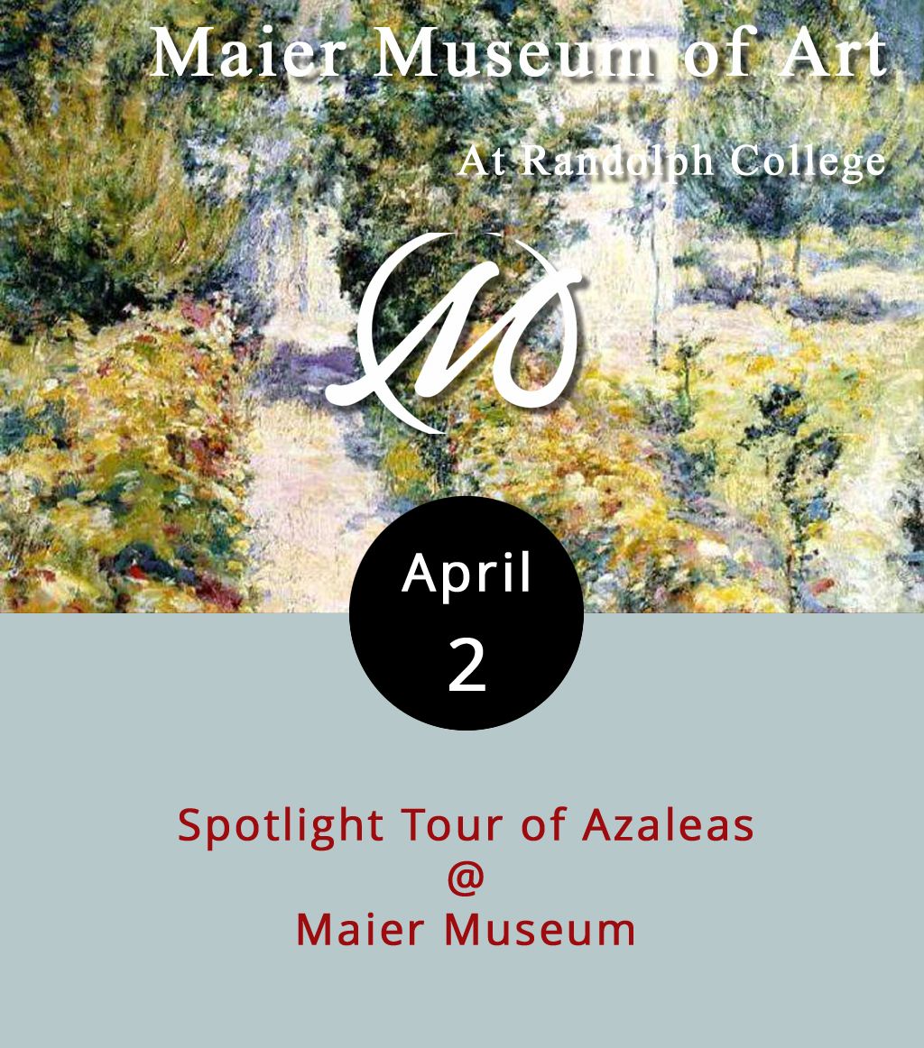 """Sometimes it takes a little something extra to get people in the right frame of mind to go out and take in some art. We know that, and so does the staff at the Maier Museum (1 Quinlan St.). So they're providing that extra little push in the form of a mini spotlight tour of  Azaleas , an 1898 impressionist landscape by the American painter John Henry Twachtman. And we're providing an extra little nudge by pointing out how easy this is. Just drop by the Maier at 2 p.m. and you'll get a free 15 minutes of thoughtful discourse on  Azaleas from one of the museum docents. No muss, no fuss. The Maier is open from 1-5 p.m. every Tuesday through Sunday, and current exhibits include prints from the permanent collection, and """"Investigating Identity: Race, Gender, and Sexuality in Contemporary Art."""" Call (434) 947-8136, or click  here for more info."""