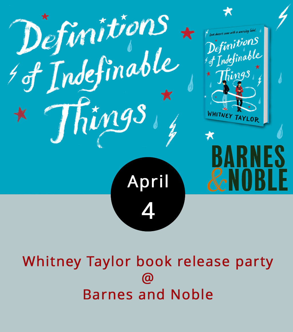 """The  Kirkus Review  calls Whitney Taylor's debut young adult novel, """" A compelling exploration of mental illness."""" The  School Library Journal  says it is """"[a]n emotionally engrossing and powerful exploration of depression and healing."""" We say, Taylor is a local talent who's celebrating the publication of  Definitions of Indefinable Things by doing the meet-and-greet thing at Barnes and Noble (4024 Wards Rd.) this evening from 7-8 p.m. It's free; call (434) 239-8688, or click  here for more info."""