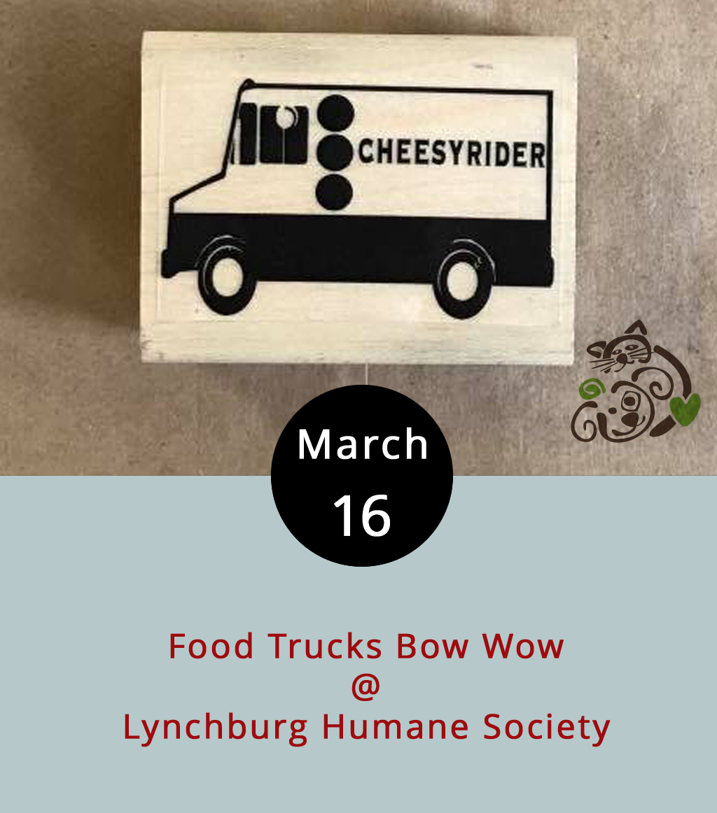 Tracking down food trucks around town ain't always easy, and finding a cluster of them can be downright difficult. But we have it on good authority that a bunch of them will be gathering in the parking lot outside the Lynchburg Humane Society (1121 Old Graves Mill Rd.) today from 11 a.m.-2 p.m., otherwise known as lunchtime. There will be dogs and cats, and food from Cheesy Rider, Uprooted, T & E Catering, Mama Crockett's, and Delicia's Gourmet Ice. Call the Humane Society at (434) 448-0088, or click  here  for updates.