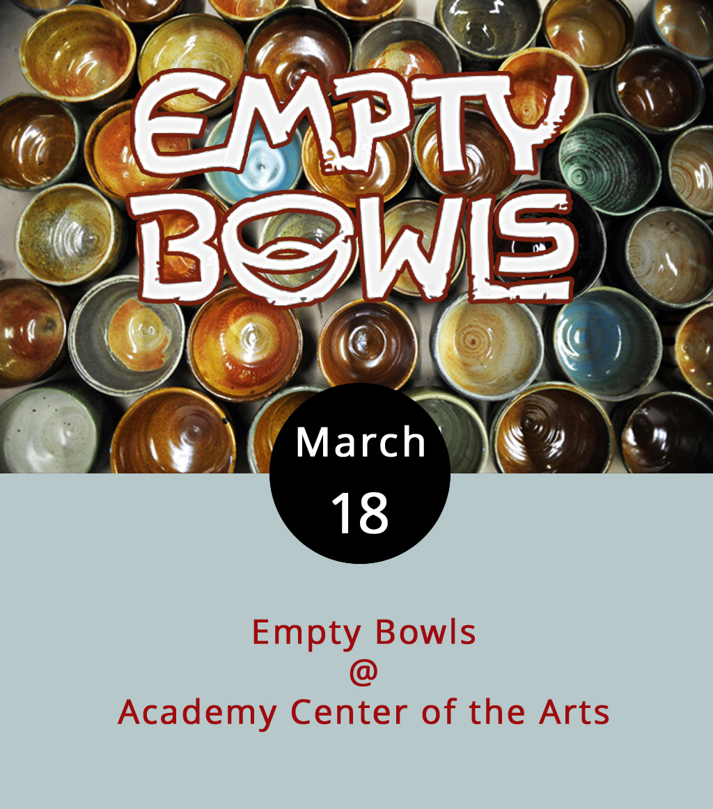 The Warehouse Theatre at the Academy Center of the Arts (519 Commerce St.) will morph into a rather upscale soup kitchen today for their ninth annual  Empty Bowls  fundraiser to benefit the Daily Bread, an actual soup kitchen in Lynchburg. Here's how it works: you pay $20 for a ticket, which entitles each patron to select a hand-made ceramic bowl created by a local potter. You can then fill that bowl will a selection of various soups provided by chefs from some of the finest establishments around town. Good soup + a good cause = a good time. For tickets call the Academy box office at  (434) 846-8499, or click  here .