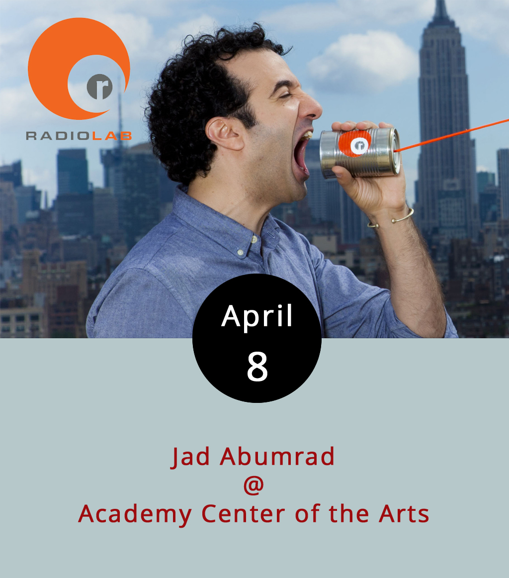 """Jad Abumrad is the creative genius behind  Radiolab , a trailblazing and very cool NPR radio show produced out of NYC that launched back in 2008 and helped set the parameters for what podcasts have become. Really, it's one of the best """"talk"""" shows on radio, a top ranking podcast, and just a smart, insightful, and entertaining hour of exploration into science, philosophy, sociology, and all kinds of other stuff. Abumrad also produced and hosted a very timely  Radiolab  spinoff last year about the history of the Supreme Court called  More Perfect . Find it right  here . Abumrad comes to the Academy Center of the Arts (519 Commerce St.) to talk about what he does, how he does it, and why you should care. The show starts at 7:30 p.m., and tickets are $18 for students, $28 for seniors, and $35 for everyone else. There are also a limited number of $100 VIP tickets for a meet and greet that starts at 6 p.m. Call (434) 528-3256, or click  here for tickets."""