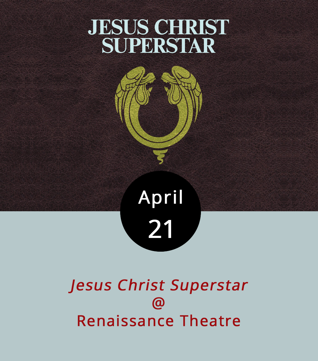 """Before  Hamilton  took over Broadway. Before  Rent  became more than something you had to pay at the beginning of the month. Before  Tommy  and  Quadrophenia and  The Wall  raised the proverbial bar on conceptual pretension, but a couple of years after  Hair  made its mark on our culture, there was a big little show called  Jesus Christ Superstar . It wasn't Andrew Lloyd """"I wrote the music for  Evita , Cats , and  Phantom of the Opera """" Webber's first big rocked-up musical, but it certainly put him and lyricist Tim Rice on the map back in 1971. It features such upbeat hits as, """"This Jesus Must Die,"""" """"Damned for All Time,"""" and """"Gethsemane (I Only Want to Say),"""" and the local folks at Renaissance Theatre (1022 Commerce St.) are staging it tonight, tomorrow, April 28 and 29, and May 4, 5, and 6 at 8 pm. There's also a 3 p.m. matinee this Sunday. Tickets are $15 and $18; call (434) 845-4427 or click  here for more info. Tickets can be purchased online from  etix ."""