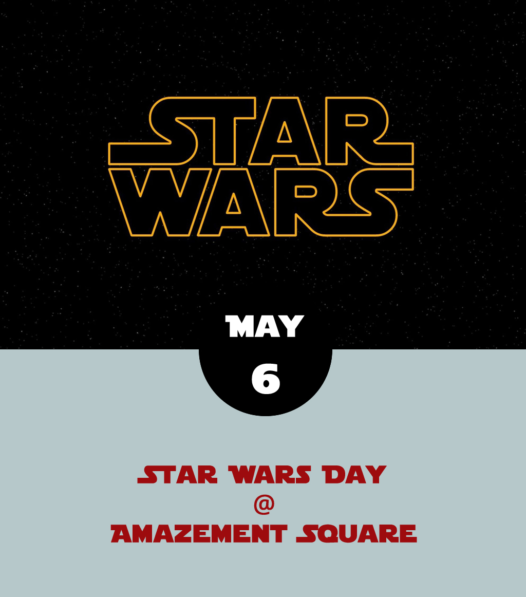 Calling all Padawans and aspiring Jedi knights: Amazement Square (27 Ninth St.) is gearing up for a full day of  Star Wars -inspired crafts, games, and challenges. Costumes are, of course, encourages, although you may have to check your light saber at the door. The event begins at 10 a.m. and runs until 1 p.m. Admission is $5 in addition to either museum membership or the usual cost of admission, which adds up to $14 for kids and $9 for adults, minus $9 for members. Click  here for tickets and more info, or call (434) 845-1888.