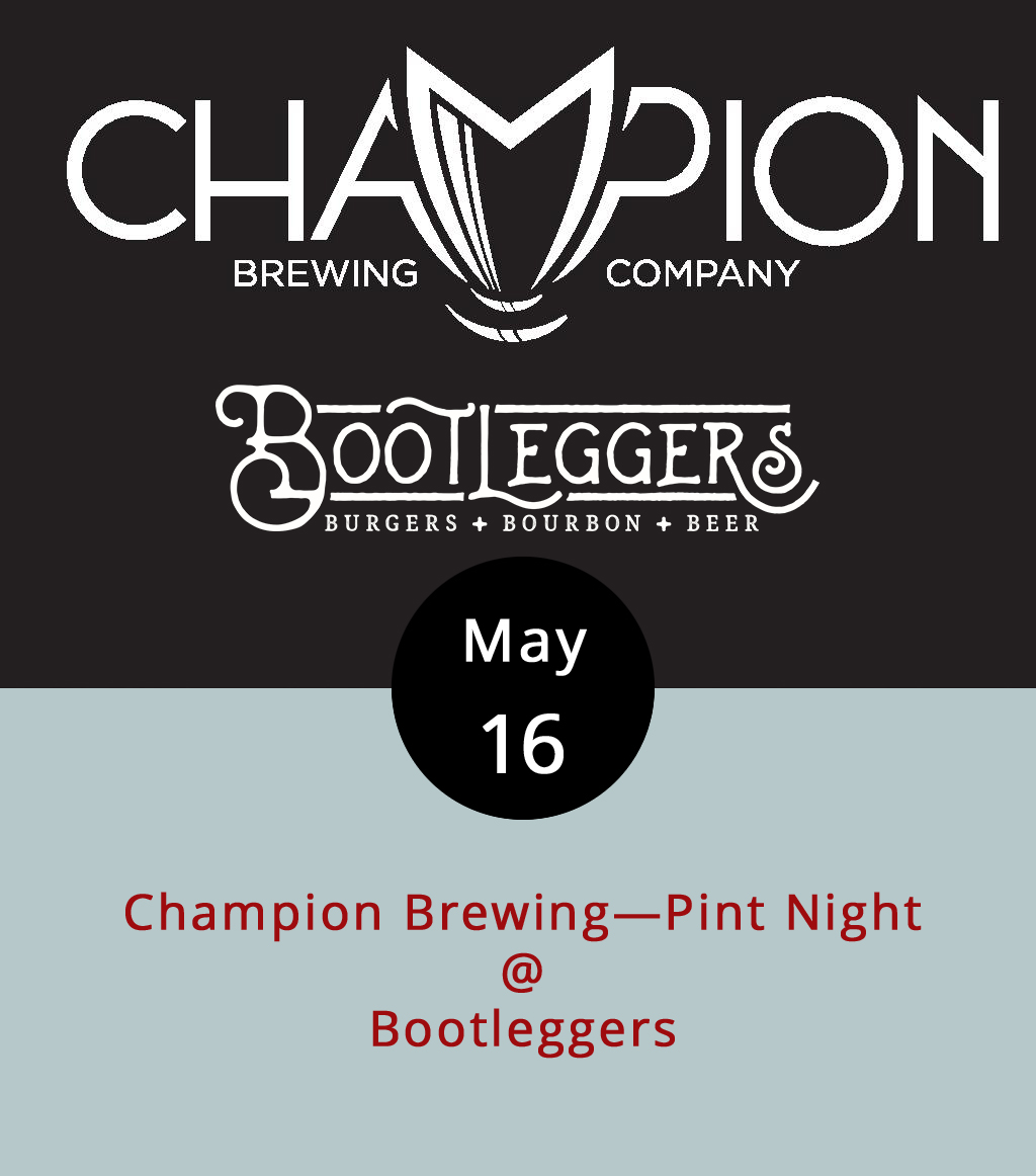 """The good folks of Champion Brewing Company are showing off their beer and showing their faces at Bootleggers's (50 13th St.) this evening from 5-9 p.m. Champion is a Charlottesville microbrewery that's been around since 2012 with a very cool mission: """"To create and share beers that move us in the same way our favorite records do."""" Cheers to that. Three of their beers will be on tap at Bootleggers: a Shower Beer (a clean and simple pilsner made from Czech hops), Malibu Nights (a pink IPA with grapefruit and hibiscus), and a mystery beer that has yet to be determined. We're thinking it could be their Fruitbasket IPA, a fruity and herbal, mosaic-hopped concoction. Of, course, Bootleggers is home to some fairly formidably burgers, milkshakes, and a deep-fried Oreo cookie desert. So you might want to grab dinner. The menu is  here ; call (434) 333-4273 for more info."""