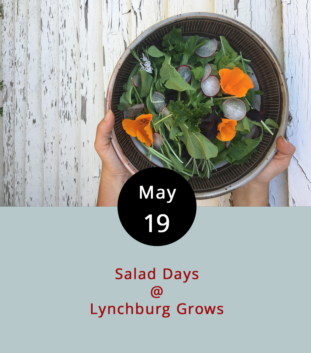 If you mispronounce LynchburgDoes in just the right way, it rhymes with Lynchburg Grows. Just thought we'd point that out today because we'd like to spotlight all of the fine work the folks at Lynchburg Grows (1339 Englewood St.) have done over the past decade on the site of what used to be the Schenkel family rose farm. They saved and refurbished eight of the original nine greenhouses and have put them to use growing organic produce that, in addition to feeding the hungry, is available in weekly shares that you can find out more about right  here . This evening, from 6-9 p.m., they'll be offering a special Salad Days dinner. There will be a full salad bar and a selection of other dining options courtesy of Cheesy Rider Food Truck, Crisp, Entwined Events, Farm Basket, Isabella's, Lorraine Bakery, Magnolia Foods, Mookie's, Rivermont Pizza, Stephanie Fees, and The Water Dog. Tickets are $35 for adults, and $5 for kids ten and under. For reservations and info, click  here or call (434) 846-5665.