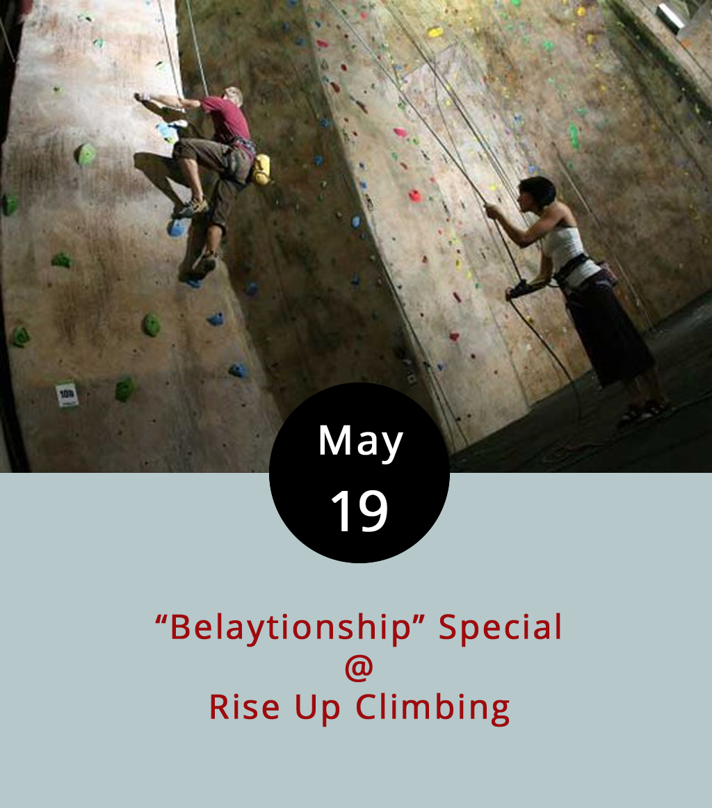 """Without getting into too much technical detail, belaying is a term of art used in the climbing world to describe a variety of safety measures that climbers deploy in order to prevent falling. That's a pretty important part of climbing, and the belayer is the essentially the person who has the job of making sure that his or her partner does not plummet to the ground. They can teach you how to do it at Rise Up (1225 Church St.), the cool indoor climbing gym downtown by the YMCA. The climber/belayer relationship can be somewhat intimate, so Rise Up has combined the terms for what they're calling a """"Belaytionship"""" special Show up with a buddy or a loved one on Fridays from 5-10 p.m.and get a two-for-one discount on all your rock climbing needs – a potential savings of $7-$30 depending on how much climbing gear you'll need to get started. For more info, click  here , or call (434) 845-7625."""