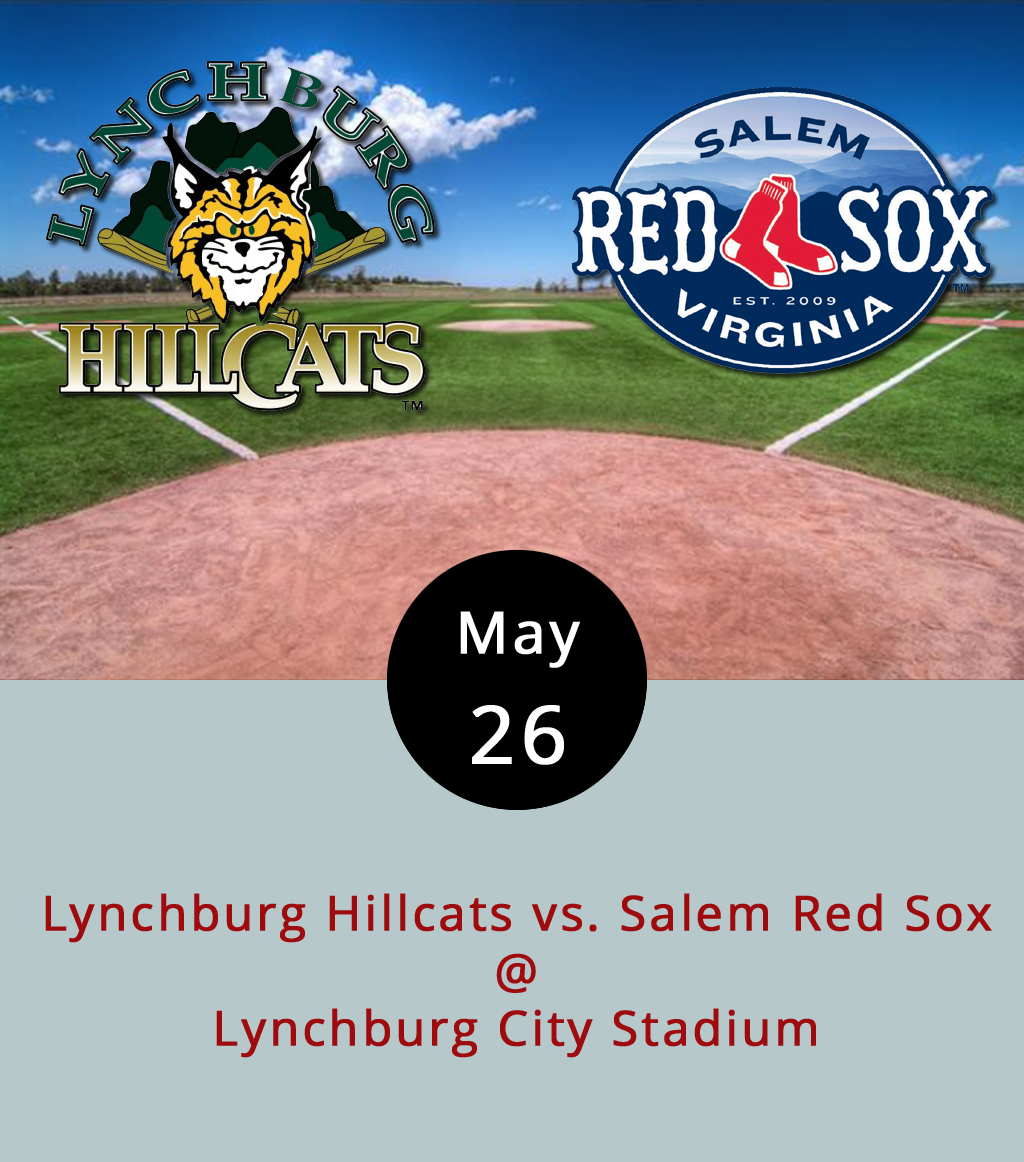 The Lynchburg Hillcats have been hanging in there at a solid second place in the standings of the Carolina League Northern Division. Right above them, in first place, sit the Salem Red Sox. But all of that could change this weekend when Salem come to Lynchburg for a four-game series that pits Cleveland's Single A affiliate against Boston's best minor leaguers. The action gets underway tonight at 6:30 p.m. at Lynchburg City Stadium (3180 Fort Ave.). Tomorrow's game is at 6 p.m. And on Sunday and Monday there are afternoon games at 2 p.m. Tickets are $9; call (434) 528-1144 or click  here .