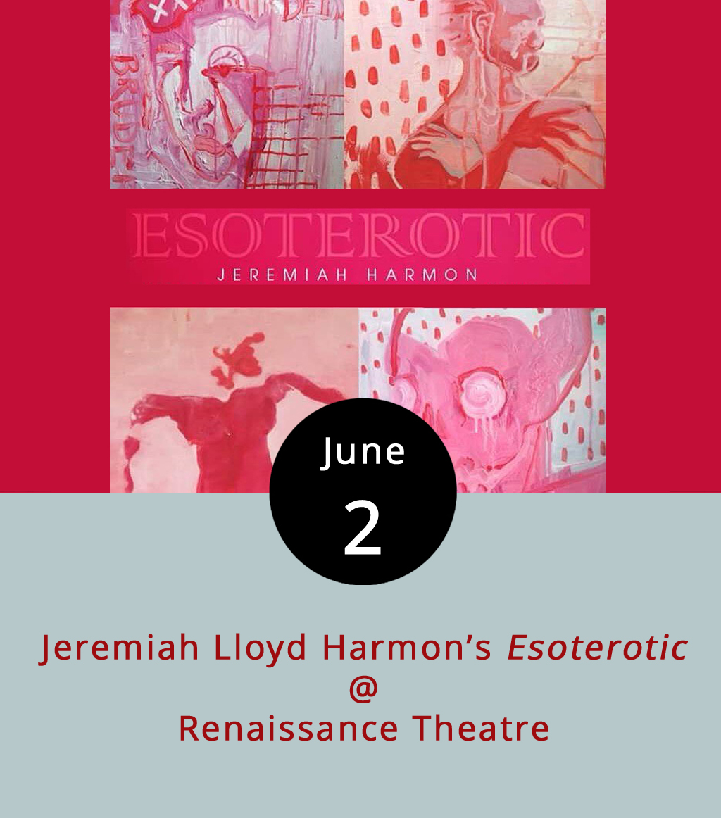 """If it's the inaugural Friday of the month, which means there's a full slate of activities happening downtown, including the usual gathering at Riverviews Artspace (910 Jefferson St.). Just a few blocks from Riverviews, at Renaissance Theatre (1022 Commerce St.), Baltimore-based artist Jeremiah Lloyd Harmon will unveil his latest works in a show titled  Esoterotic . It features acrylic and mixed media paintings on dry-erase boards and canvasses. As Harmon explained in an email, """"The inspiration of  Esoterotic  comes from my own body. The paintings are an observation of passion and sensuality as figure paintings in varying shades of red."""" The exhibit reception at Renaissance Theatre runs from 5:30-8 p.m., which coincides with a glass-blowing exhibition at Vector Space, live music and exhibit openings at Riverviews, and much more. Most First Fridays events are free; click  here  for more info."""