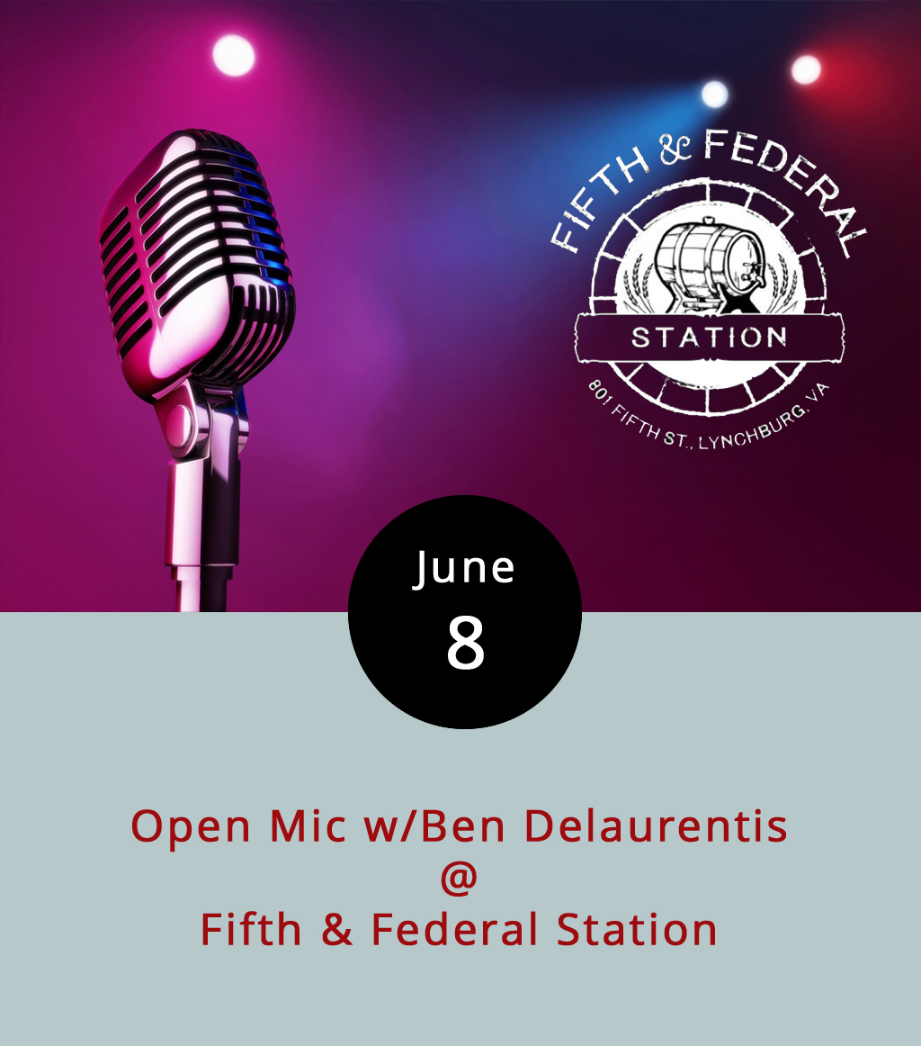 Assuming the weather holds up, there shall be music under the stars and right beside the traffic circle on the outdoor stage at Fifth & Federal Station (801 Fifth St.) this evening from 8-11 p.m. It's really quite a sight, especially as the sun begins to set and the traffic melts away and you can almost forget for a moment that you're actually in the middle of something akin to a city. Ben Delaurentis of Steal the Prize and a seasoned veteran of many an open mic around town hosts the festivities. Fifth and Federal has a cool, barbecue-centric  menu , and like 57 or 58 different kinds of bourbon, whiskey, and rye. There's no cover, which makes this a low risk/high reward kind of proposition. Call (434) 386-8113 or click  here for more info.