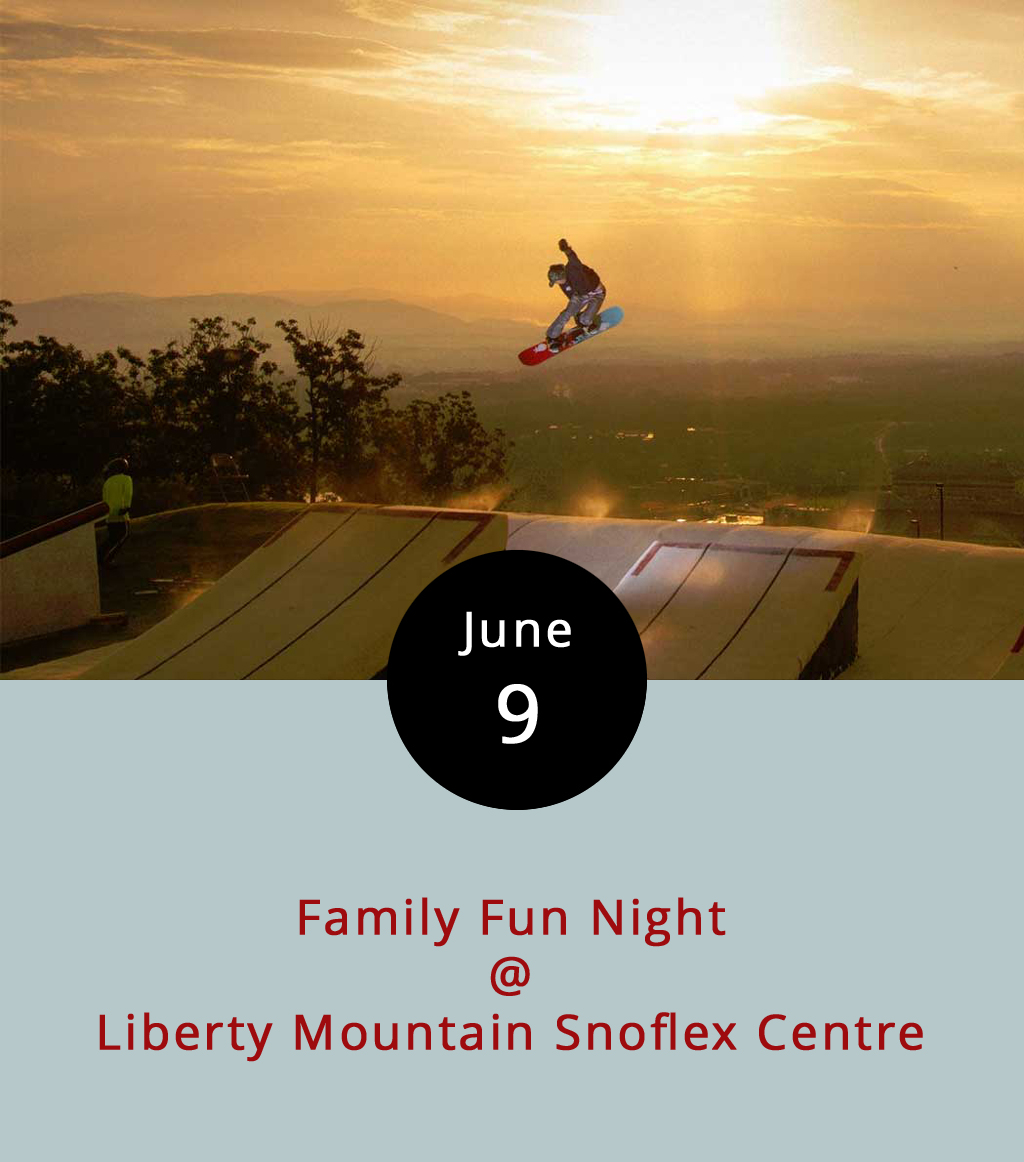 """Ever wonder what it's like to snowboard in June? Drop into the """"dryslope"""" at Liberty Mountain Snoflex Centre (4000 Candlers Mountain Rd.) tonight at a Family Fun Night that'll feature skiing and snowboarding. You can fly over three jumps, roll up a quarter pipe and maneuver an array of rails, boxes and other features from 6-10 p.m. Equipment is included in the price of admission, which is $5 for adults and $3 for children 11 and under. For a more relaxed roll, the Snoflex also offers three tubing runs. Be warned: Attendees must sign a liability waiver. The event will include outdoor games, such as giant chess and cornhole, as well as local food trucks. For more details call (434) 582-3539 or click  here ."""