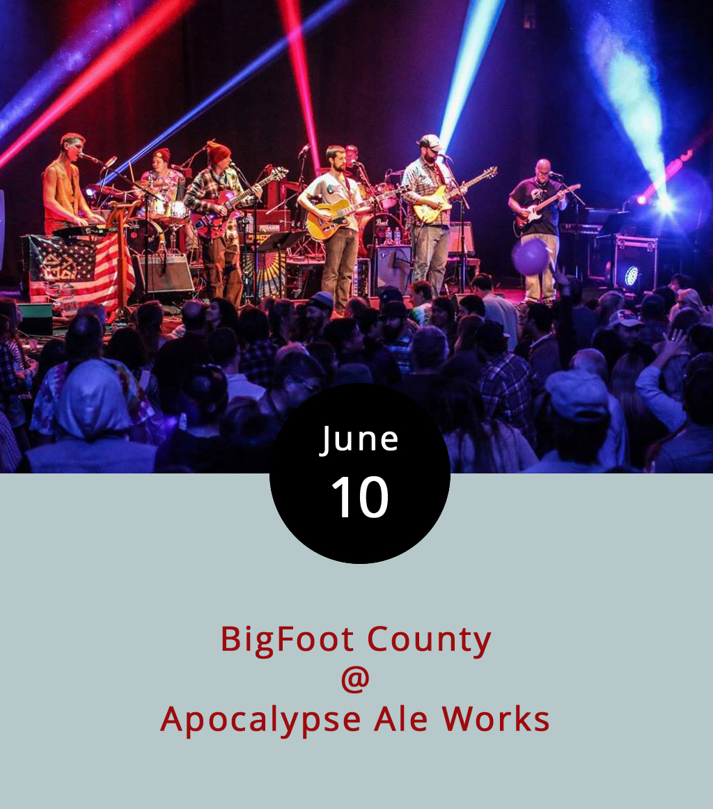 Come pay tribute to the Grateful Dead and tasty craft brews tonight as Lynchburg-based BigFoot County plays two full sets at Apocalypse Ale Works (1257 Burnbridge Rd.). The band is known locally for their jamming Dead covers, and we have it on good word from a band representative that tonight's show is one of the few they've got scheduled for this summer. The band will also be selling a limited number of prints and shirts designed specifically for the show featuring both Apocalypse and BigFoot County logos. The Smoke Ring BBQ truck will also be on hand.It all goes down from 8-11 p.m. Click  here  or call (434) 258-8761 for more info.