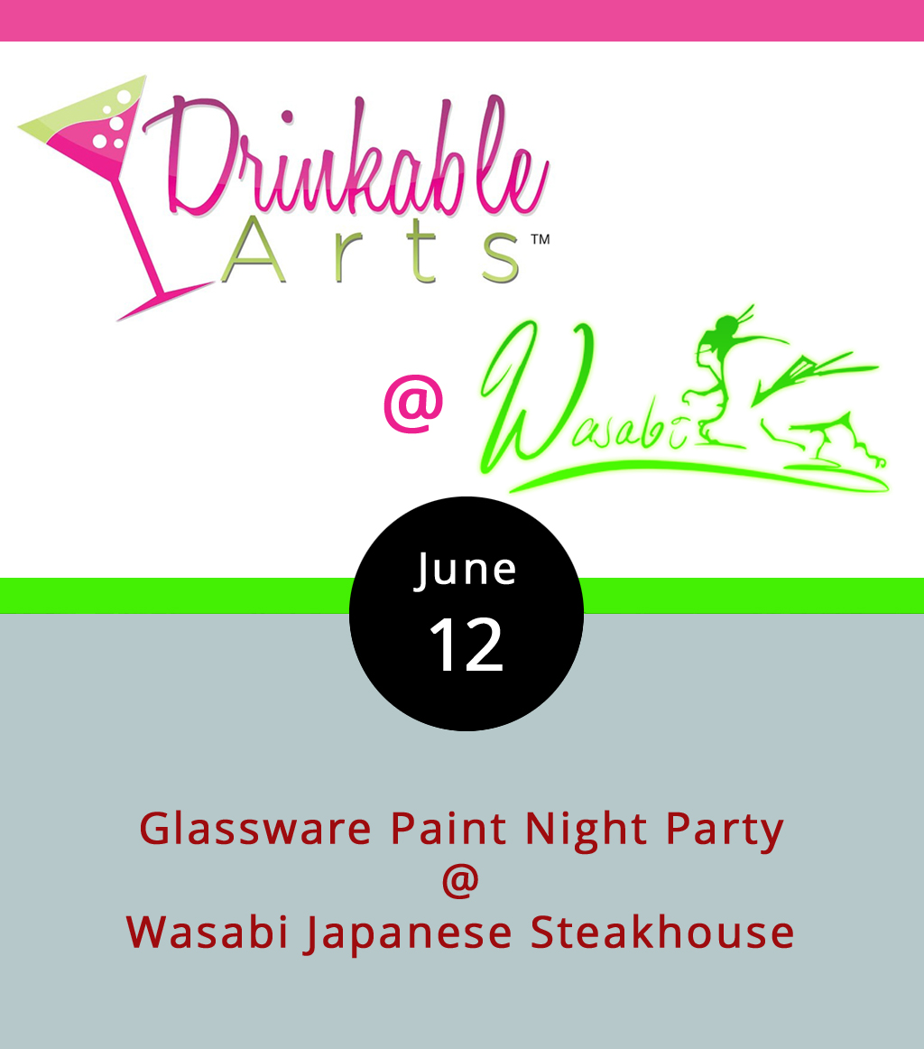 """It may not be prudent to paint the town red on a Monday evening, but you can at least paint a glass any color you wish while sipping wine tonight. Drinkable Arts is hosting a """"paint and sip"""" party from 6-8 p.m. at Wasabi Japanese Steakhouse and Sushi Bar (3700 Candlers Mountain Rd.). It's a little like a crafty tupperware party that pairs wine, painting, and people. For $30, attendees pick out a glass to decorate and personalize using tools and materials provided by Drinkable Arts. Use the promo code """"PAINT10"""" to receive $10 off your ticket purchase when you click  here . Additional glasses are $15. No wine is included in the price of admission, but you can order anything you'd like from the Wasabi menu. For more information call (844) 626-7746."""