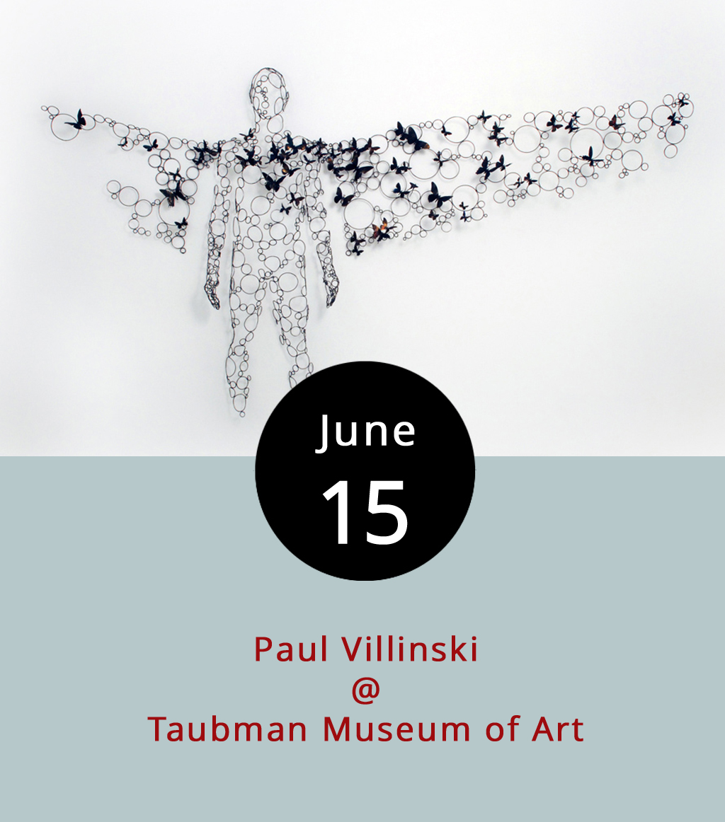 "Roanoke's Taubman Museum of Art (110 Salem Ave. SE) is usually worth a little road trip, and right now they've got some cool stuff on display, including gemmed handbags and purses by Judith Leiber, metalwork figures by Alison Pack, and Romare Bearden's modernist series  Pictures of America . Better yet, this evening they've got NYC-based artist Paul Villinski on the premises for a gallery talk to celebrate the installation of his ""Passage,"" a sculptural piece that resembles at WWII bomb dropping a payload of flowers. The event runs from 5:30-8 p.m., and also features music by the Jonah Kane-West Organ Trio. It's $8 for adults, $5 for students and educators, and $4 for children. It is free for members and their children. Call (540) 342-5760 for more info, or click  here ."