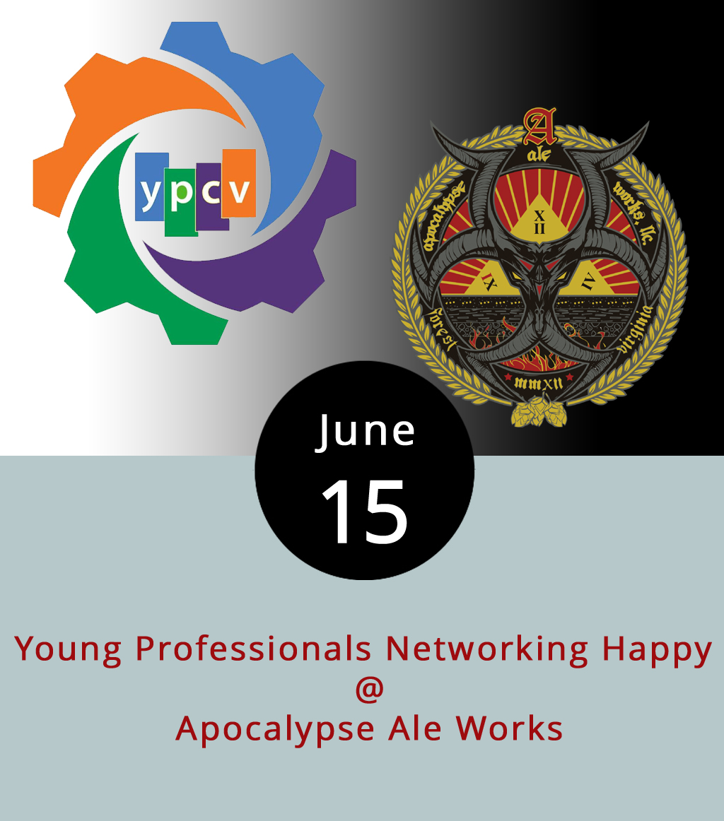 Every month the Lynchburg area's young professionals (a category that is left undefined) come together for a Thursday happy hour at a venue that can handle at least an hour of happy. Tonight, Apocalypse Ale Works (1257 Burnbridge Road) hosts the Young Professionals of Central Virginia for the 5:35 p.m.  event    at which people are invited to grow their networks by sharing libations and trading business cards.   The  Young Professionals of Central Virginia  is an organization dedicated to connecting, attracting, and retaining young professionals to the Lynchburg area. No official membership or dues are required to attend the rotating monthly meetings. For info about the organization, call (434) 847-1447. For info about Apocalypse, call (434) 258-8761.