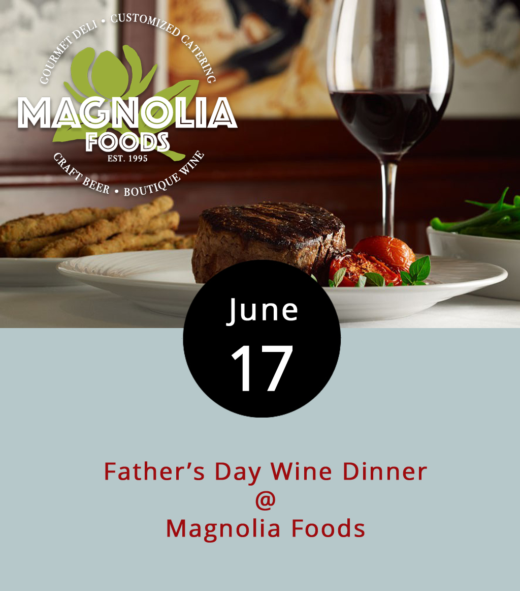 Having hosting a Mother's Day Wine Dinner back in May, Magnolia Foods (2476 Rivermont Ave.) must have decided it was unfair to leave the dads out, so they'll be doing the whole shebang over again for Father's Day. Or, Father's Day eve. This time, it's a four-course meal with wine pairings, including a first course chowder with Tenshen White Blendan, an arugula salad and quinoa cake with Run Riot Pinot Noir, and a grilled ribeye steak with potatoes, broccolini, and Napa Cellars Zinfandel. Dessert is double chocolate peanut butter bread pudding a la mode served with Ruby Port. Tickets are $60 per person and include tax and gratuity. To book a table call (434) 528-5442, or click  here  for more info.