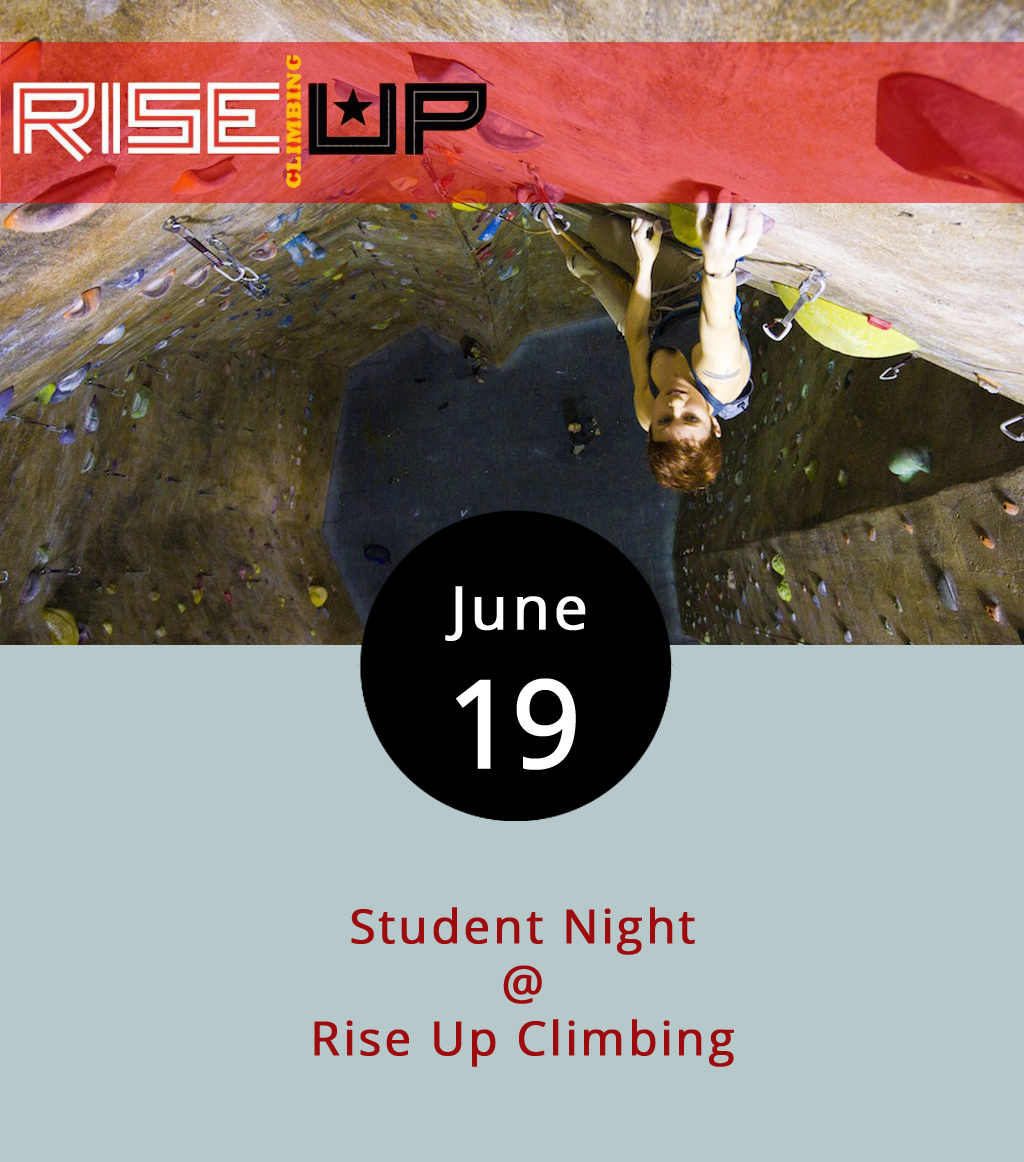 Although school is out for the summer, students can still get a discount tonight (and every Monday) at Rise Up Climbing (1225 Church St.). Rise Up is the best and only indoor climbing gym in downtown Lynchburg. Beginners can be up and climbing within about 30 minutes, according to the folks in charge. Anyone under 18, and anyone over 18 with a valid student ID, receives a discount on day passes ($10), gear rental ($3), and belay instruction if necessary ($7). If you don't know what a belayer is, then instruction will be necessary. For a virtual tour of the place, click  here . Call (434) 845-7625 for more information.
