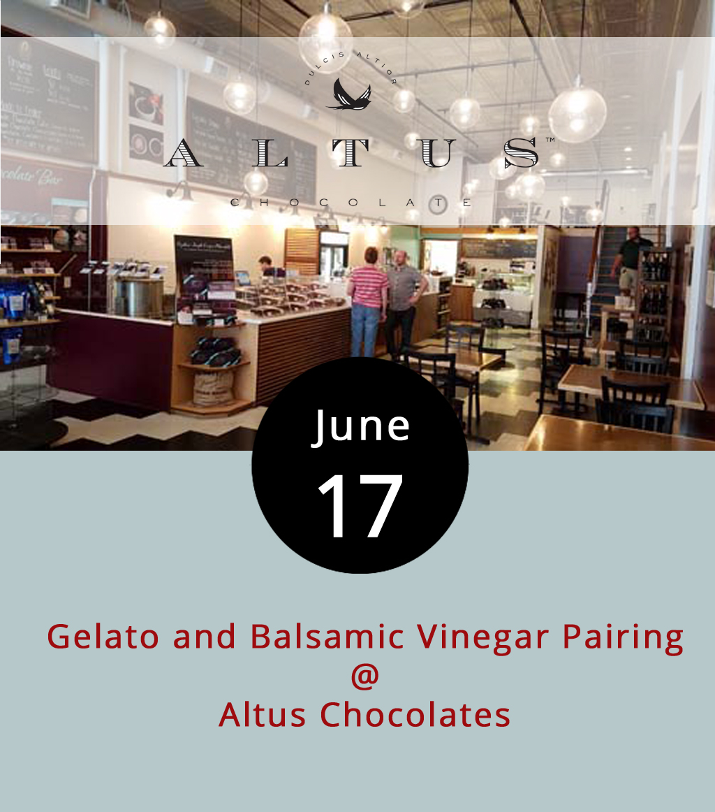 This may sound a little strange, but pairing gelato with vinegar is a culinary  thing . Modena, an Italian city known as the home of traditional balsamic vinegar, has been putting the two together for decades to enhance the tartness and fruitiness of the gelato, as well as offset its sweetness in an interesting if not slightly bizarre way. Still not convinced? Even celebrity chef Mario Batali has a  recipe  for the stuff. Two downtown foodie shops, Favored Flavors and Altus Chocolates, have paired up to pair up these two great tastes that taste great together. It all happens from 7-8:30 p.m. at Altus Chocolates (908 Main St.). Tickets are $9 and can be reserved by clicking  here . That includes twelve samples of gelato and vinegar as well as a date night coupon usable at both Altus Chocolates and Favored Flavors. Call (434) 847-2970 for more info.