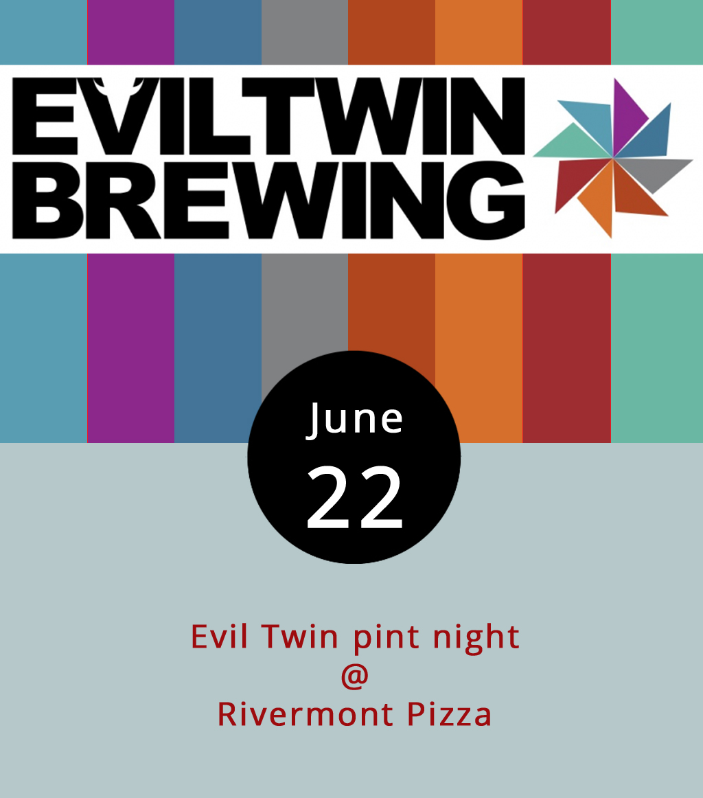 "Just a few days ago, Rivermont Pizza (2496 Rivermont Ave.) hosted a sold-out beer dinner featuring libations from the Evil Twin Brewing Co. This evening several of RP's taps will be commandeered by various Evil Twin brews, which you can read about  here . The Brooklyn-based, Danish-born craft brewing company was started, as legend has it, by Jeppe Jarnit-Bjergsø, who immigrated to Brooklyn after a feud with his brother (also a brewer). Both siblings have generally operated as ""gypsy brewers,"" concocting recipes and contracting with existing brewers for large-scale production. But Evil Twin is now gearing to open its first brick-and-mortar brewery in New York later this month. RP will have seven or eight Evil Twin beers on tap and a limited number of branded pint glasses on hand to give away. Call (434) 846-2877 for more info."