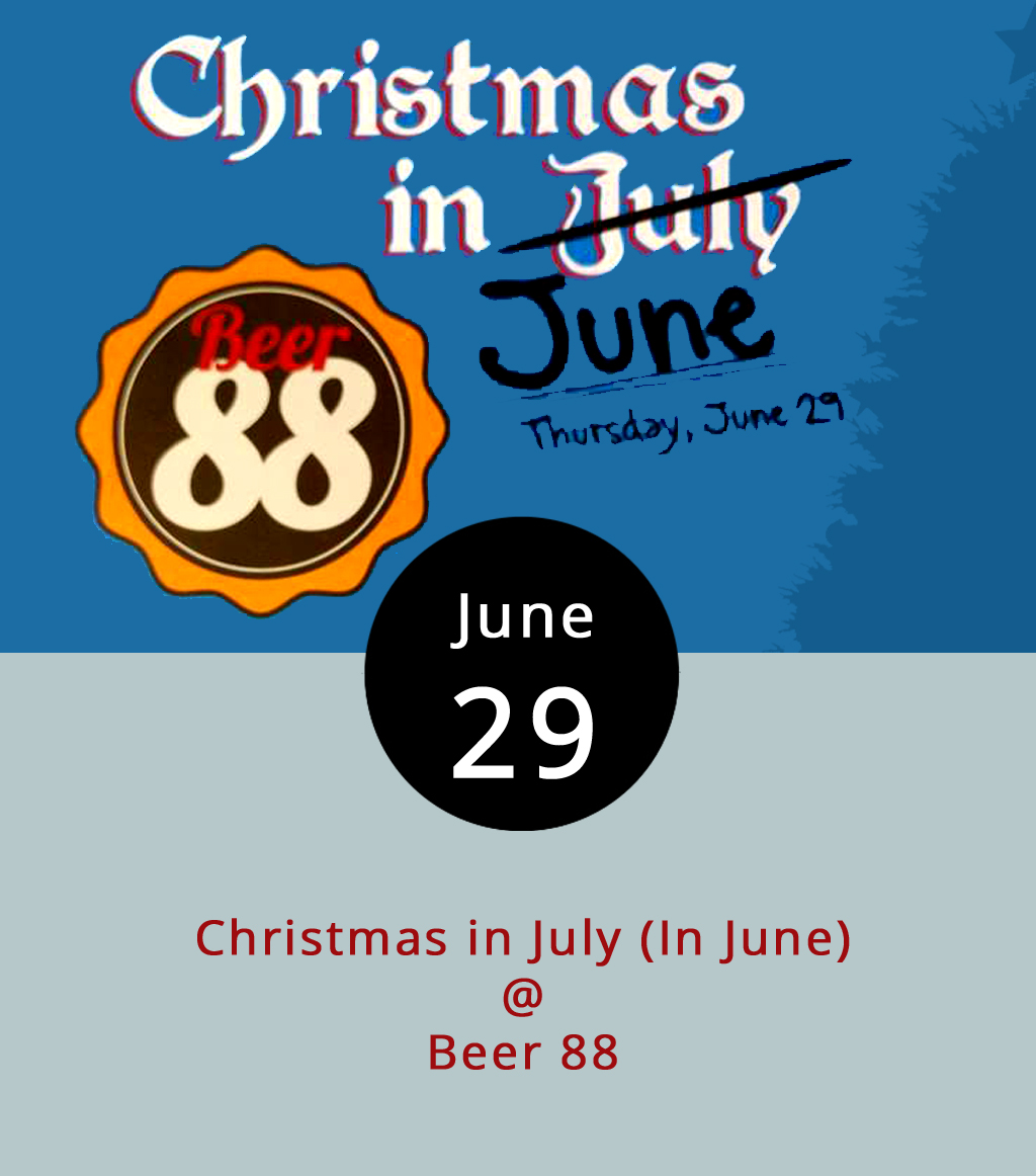 As the heat and humidity of summer descends, fruit-infused lager and IPAs tend to get more attention, and darker, heavier stouts and porters not so much. But, if you've got a taste for thick winter libations or just want to try something new, Beer 88 (113 Hexham Dr.) hosts a Christmas in July (in June) tap takeover this evening from 5-10 p.m. Featured selections from the Beer 88 menu including Dogfish Head's 120 Minute IPA; a Weyerbacher Sunday Morning Stout; the Bruery's bourbon barrel-aged wheatwine-style White Chocolate ale; and Bruery Terreux's Berlin-style boysenberry weissbier. The brews will be available in flights and pints, and Beer 88's burger-centric menu can be found  here . For more info, click  here  or call (434) 582-5025