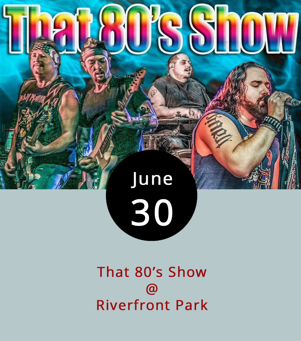 Cheers Lynchburg gets underway this evening with the first of a series of Friday shows that'll run through mid-August in Riverfront Park. The locally based tribute band That 80's Show get things rolling with a night of classic '80's rock — click  here  for a listen. Gates open at 5:30 p.m. and the music goes from 6-9 p.m. General admission is $5, although season passes (for eight events) are available for $20. Kids get in free but anyone under 18 must be accompanied by an adult. No outside drinks or coolers are permitted, but alcohol will be sold, as will other refreshments from food trucks. Sorry, no pets. For more information, including a series schedule, click  here  or call (434) 535-6190.
