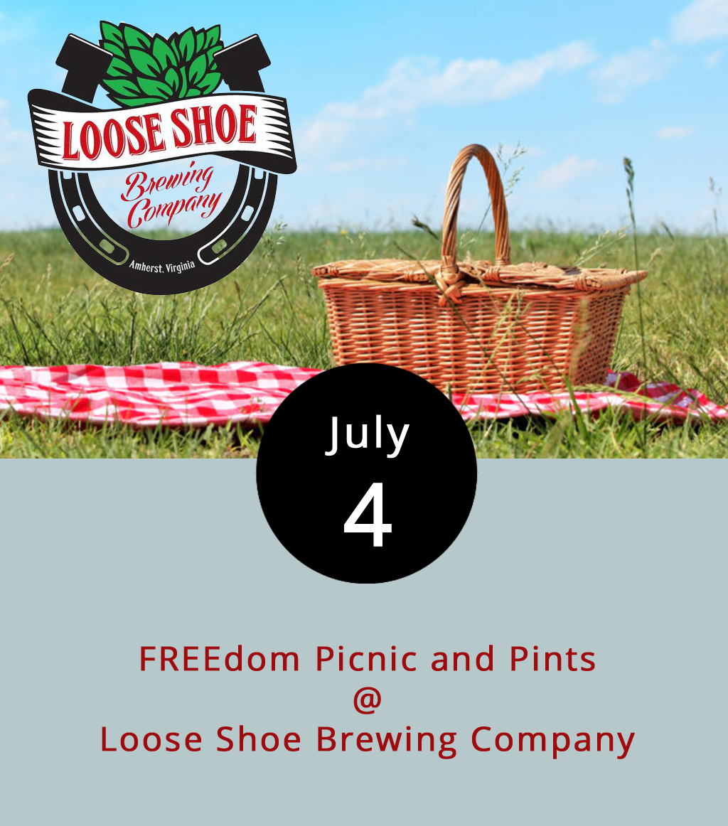 Loose Shoe Brewing Company (198 Ambriar Plaza) is going for a communal vibe this afternoon for an Independence Day cookout. They're providing the grills and selling the beer. You bring the meat, sides, friends and family. Share if you wish. The brewery's open today from 3-8 p.m. Click  here  for more info or call (434) 946-2337.