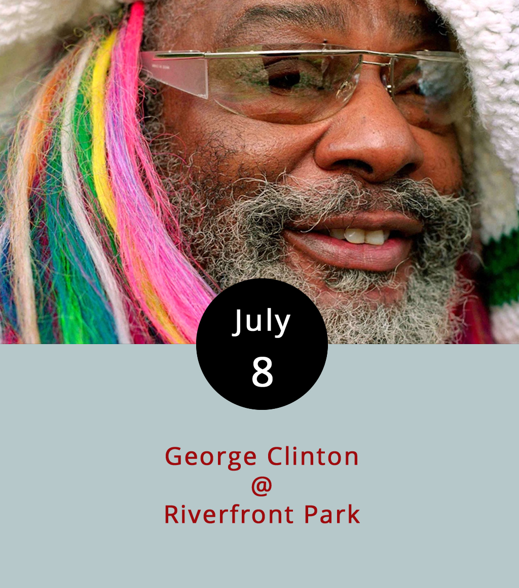 "If the late, great James Brown was the Godfather of Soul, then George Clinton is surely the Grandfather of Groove, the Grandmaster of Flash, or something like that. The Rock and Roll Hall of Famer was and will always be Captain of the P-Funk Mothership, which now encompasses all the music he's made with Parliament, Funkadelic, and subsequent huybrids of the two. Of late, the 75-year-old Clinton has been doing his own thing, which included joining Mark Ronson on stage for a run through ""Uptown Funk"" at the 20156 Galstonbury Festical, and guesting on Kendrick Lamar's  To Pimp a Butterfly . Oh, and he's coming to Lynchburg to play the second of the Academy Center of the Arts' Riverfront Park concerts. The show's scheduled for 7-10:30 p.m. on Saturday, July 8. Tickets are $10 for general admission, and $45 for VIP seating. Call (434) 846-8499 for tickets, or click  here  for more info."