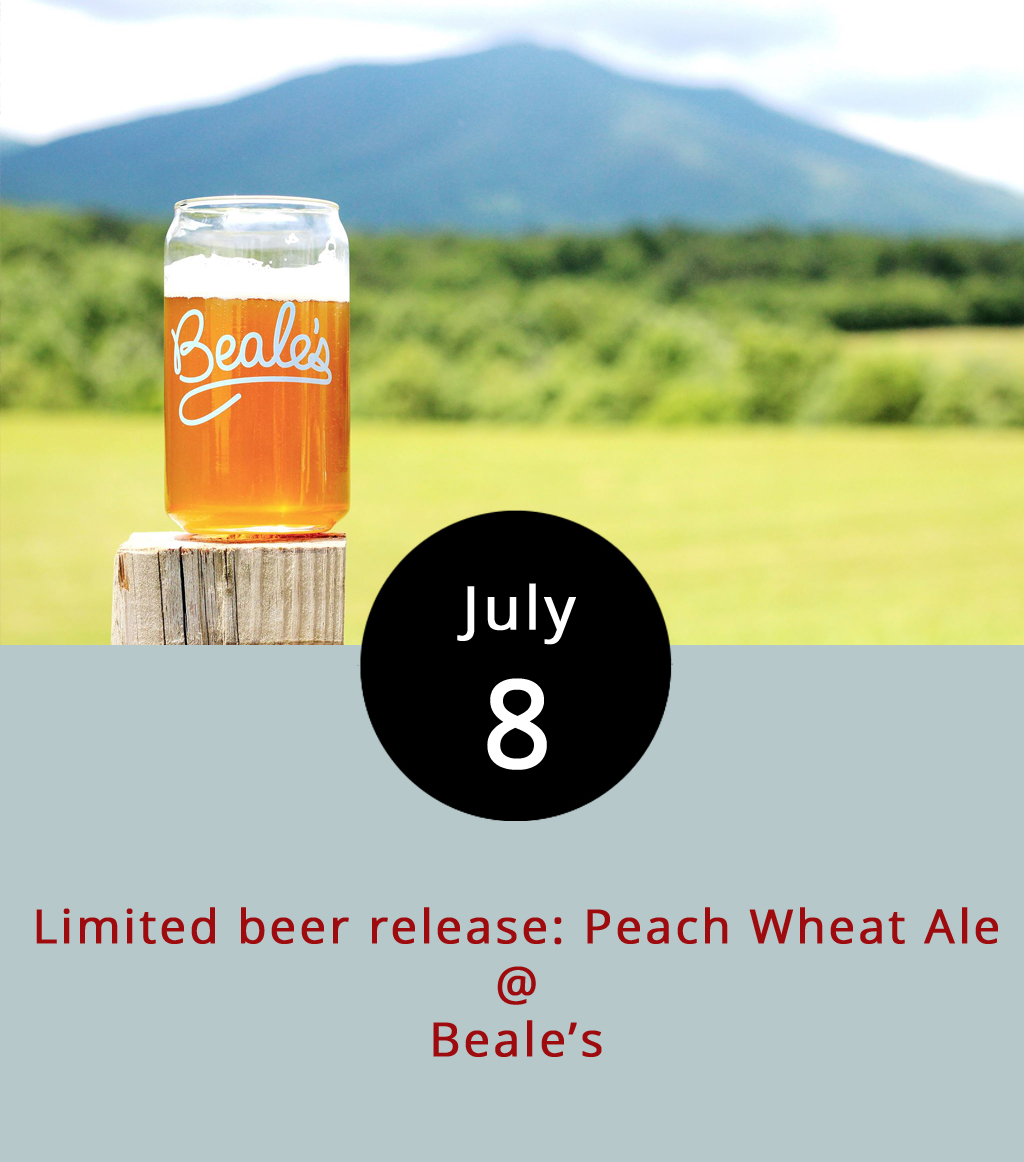 The region's newest brewery releases a limited time brew today at an event that includes fresh peaches from the same farm that supplied the batch's key ingredient. Named after Bedford County's legendary treasure, Beale's (510 Grove St.) will introduce the Peach Wheat Ale, brewed with produced from nearby Gross Orchard. The fruity brew (4.8 % ABV and 20 IBUs) should be refreshing against the draining summer humidity. They're sorry, but a limited supply means no growler fills to take home. Along with peach beer, patrons may purchase peach-glazed barbecue ribs, hand-size peach pies, and fresh peaches from Gross Orchards. Roanoke-based  Black Collar  will play 5-8 p.m. Beale's, which just opened last month, is the second Bedford venture (after Bedford Lofts) for Dave McCormack, a Virginia developer who built Trapezium Brewing Co. in Petersburg. For more information about the 12-10 p.m. event, click  here or call (540) 583-5113.