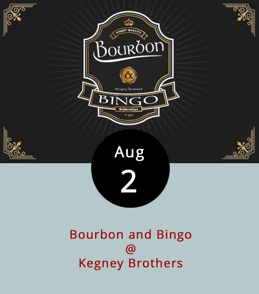 "So, we're gonna come right out and say it: there's something just a little bit brilliant about combining bourbon and bingo. That's bourbon, the drink, and bingo, the game. What happens when you mix the two? Kegney Brothers (1118 Main St.) provides an answer every Wednesday eveing starting at 8 p.m. The games are hosted, or called, by local emcee/artist Heather Gillikin, who goes by the moniker ""Schwagger,"" hosts Kegney-okey on Tuesday nights, and holds painting workshops at various establishments around town. It's free to play with the purchase of food and/or drink. Prizes are awarded for each game and there's a grand prize drawing at the end of the night, which is usually well after midnight. For more information click  here  or call (434) 616-6691."