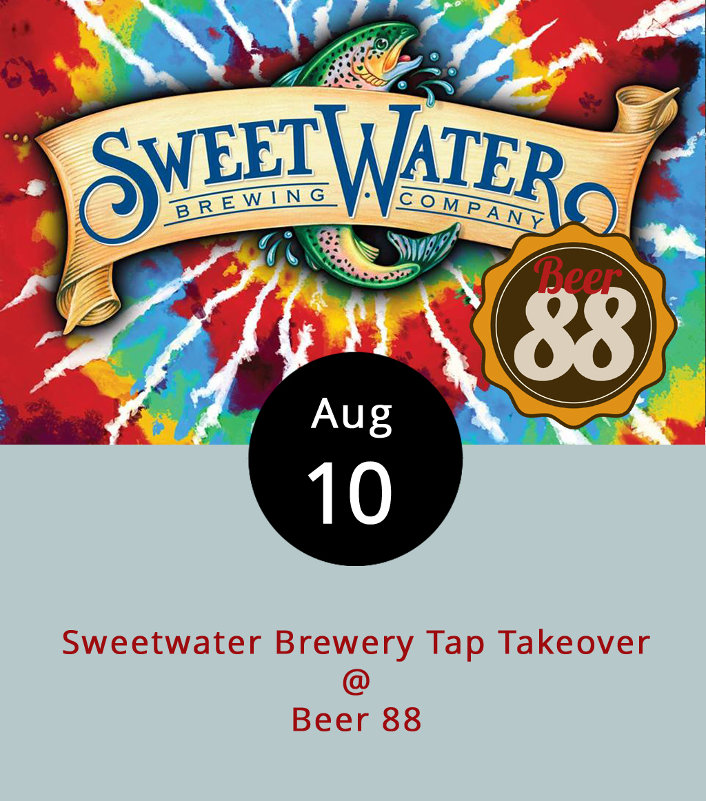 "SweetWater Brewery will flood the taps at Beer 88 (113 Hexham Dr.) tonight for a take-home-the-pint night. Starting at 5 p.m., the joint styling itself as a ""Beer and Burger Society"" will feature some of the Atlanta, Georgia brewery's staples as well as a few that are a bit less common. For the creative taste seekers among our readers, we point to the Torikumi, a wasabi-infused blonde ale released this summer, brewed in collaboration between SweetWater and Telluride Brewing Co. The Bourbon Barrel Imperial Aged Stout will also make an appearance after six months waiting in its namesake barrels. Along with the seasonal Triple Tail tropical IPA, a few Sweetwater mainstays — the 420 extra pale ale, Goin' Coastal pineapple IPA, and Blue blueberry ale — will round things out. For more information about the event click  here  or call 434-582-5025. For Beer 88's menu, click  here ."