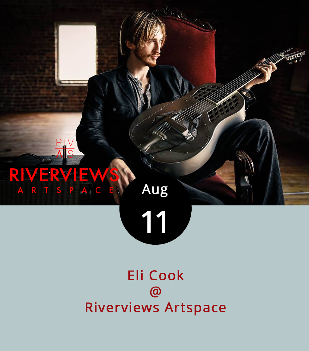 If you're expecting to get a ticket at the door for tonight's performance by bluesman Eli Cook at Riverviews Artspace (901 Jefferson St.), you may be out of luck. Riverviews is seating only 45 people for this intimate performance by Cook, a nationally touring guitar-slinger who cut his teeth as a kid at Rapunzel's Coffee and Books in Nelson County.  For more about Cook and his music, click  here , although tonight's acoustic show will be scaled down from the electric set featured in the link. Tickets are $16 and can be purchased at Riverviews or online  here . To avoid the confusion we experienced, consider this: while the online purchase system sends buyers through Paypal and asks for a shipping address, Riverviews sends an email letting you know your name has been added to the will call list. A cash bar is available at the show. For more information about the event, click  here  or call (434) 847-7277 for more information.