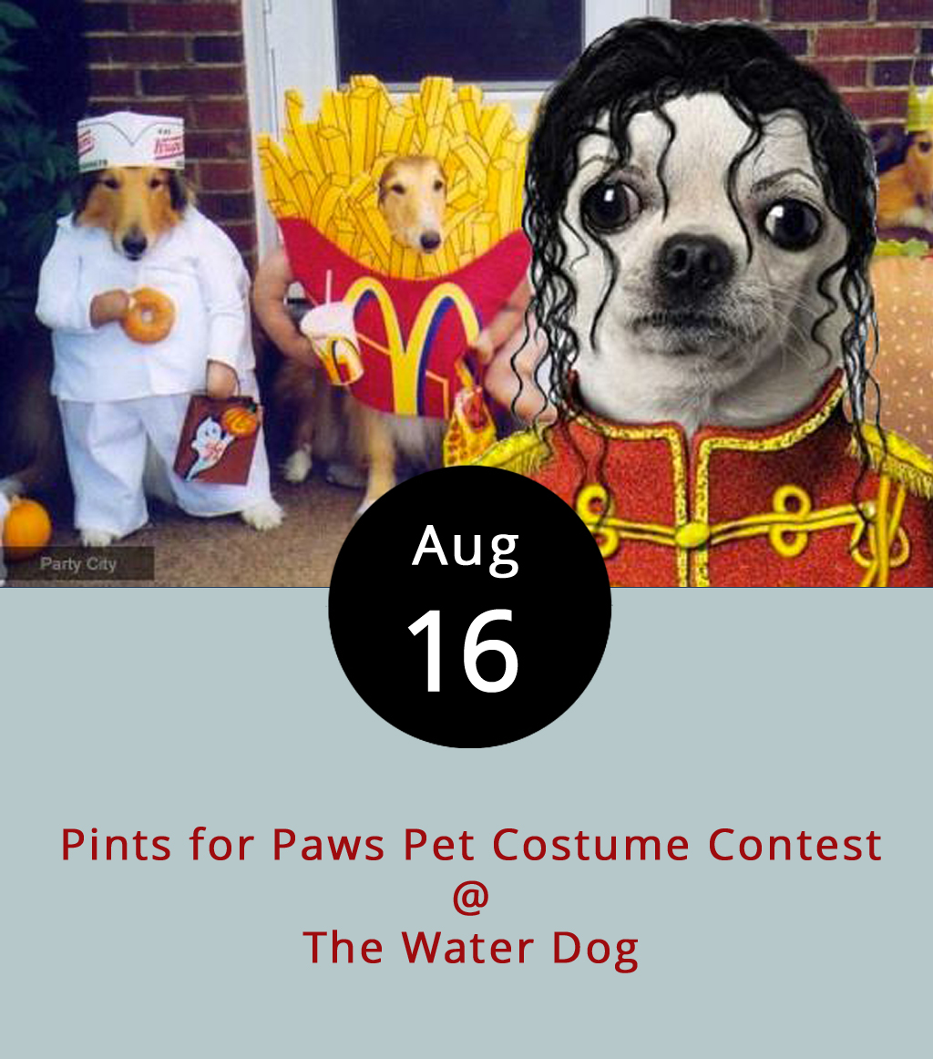It's a little early for Halloween, but the Water Dog (1016 Jefferson St.) and Lynchburg Humane Society want to see how creative your pet can get at the Pints for Paws Costume contest. The Water Dog will host the contest and puppy parade starting at 6 p.m. tonight with winners in three categories: funniest costume, most creative costume, and most over-the top costume. To be eligible for the contest, entrants must register by 5:45 p.m. Part of the stipulation, though, is that any human entering their pup agrees for pictures of their pet to be used as promotional materials for the Water Dog, the Humane Society, and Heavy Seas Beer, which is sponsoring the event. Dogs must be leashed at all times during the parade and be accompanied by a human walker, so don't send your pets to march alone. Also, no motor vehicles are allowed as part of a costume. Admission is free, although a $10 donation to the Humane Society is recommended. For more information, click  here  or call (434) 333-4681.