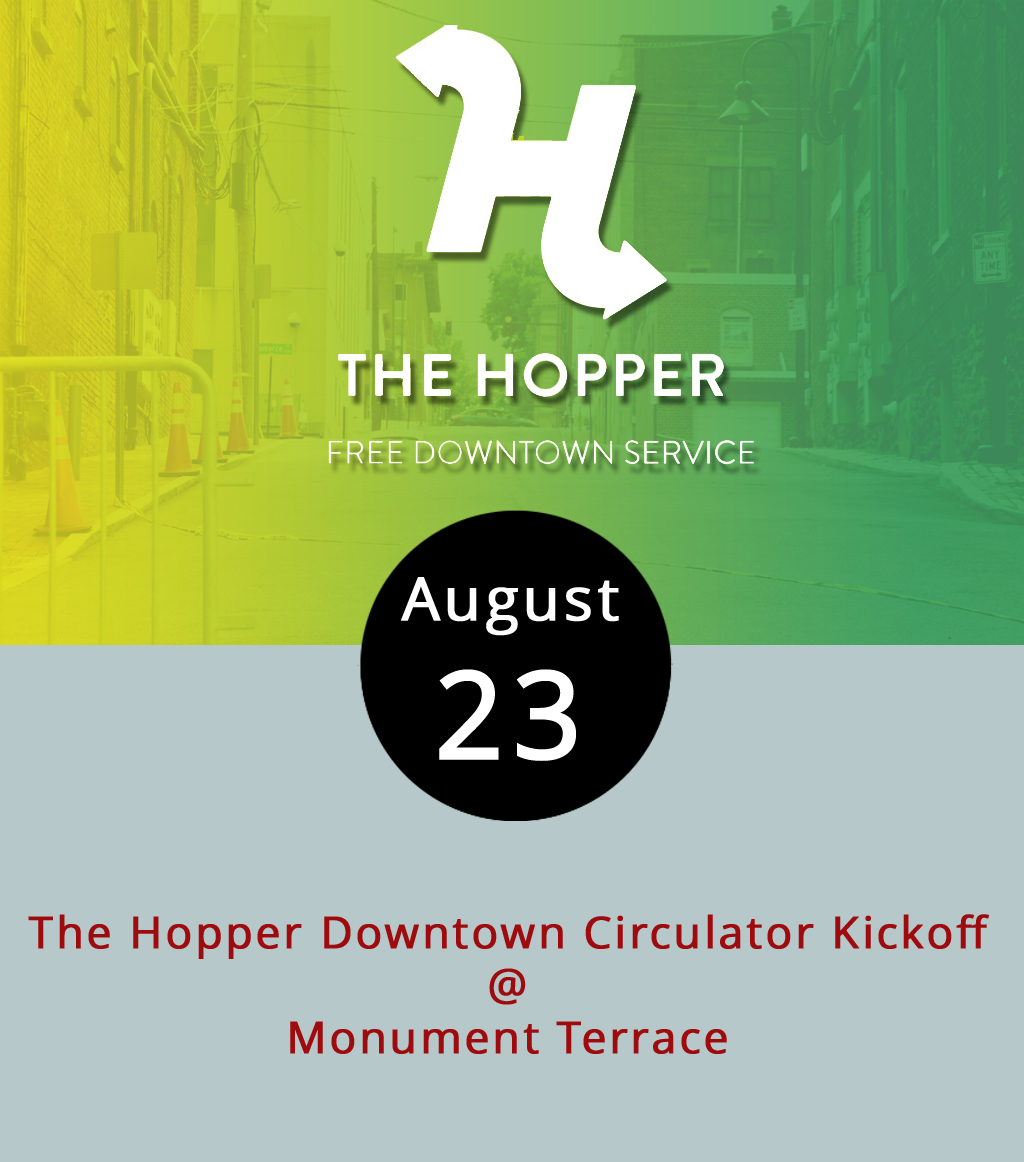 "Following the fanfare today that includes a visit from Gov. Terry McAuliffe, hopping around downtown should get easier with the addition of the new circulator bus. The Greater Lynchburg Transit Company, accompanied by city and state officials, will launch ""The Hopper"" with a celebration today at 12:30 p.m. at Monument Terrace (313 9th St.). Starting Thursday, the Hopper will loop through Church, Commerce, and Jefferson streets Monday-Friday from 10:50 a.m.- 1:50 p.m. and Saturday from 6:50 a.m.-2:30 p.m. The free-to-consumer service is paid for through the Virginia Department of Transportation SmartScale program, which uses a variety of factors, including economic impact, to determine state infrastructure spending. The shuttle service is meant to ease access to the different levels of the hilly downtown area, encourage people to spend at various merchants, and make parking easier. For more information about the event, which is mostly for press, click  here . A map and schedule of stops is available  here  or call GLTC at (434) 455-5080."