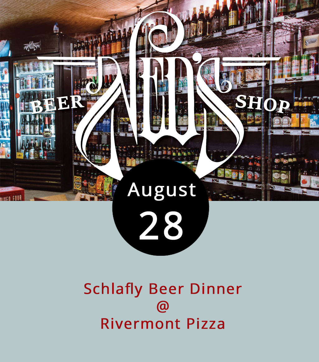 Every now and again, the folks in the kitchen at Rivermont Pizza (2496 Rivermont Ave.) team up with guys who run Ned's Beer Shop, which is conveniently located right inside RP, and put together a beer dinner. This evening's menu pairs Schlafly brews out of St. Louis a five-courses, non-pizza menu crafted by RP chef Shawn Merrow. Courses include a late-summer heirloom tomato bruschetta, whipped goat cheese, nueske's bacon and herbs, a thai spicy beef salad, and a rice crisp square with pan seared shrimp and Virginia peach duck sauce. For the main course, you get a Schlafly Helles Style Lager to go with pork belly, creamed local corn, smoked tomato puree, and micro greens before finishing up with a peach cobbler paired with Schlafly White Lager. The full menu can be found  here . Dinner starts at 7 p.m. Tickets to these beer dinners sell out in advance, so don't wait too long. You can pick up $45 tickets at Ned's, which is open from noon to midnight most days, or call (434) 846-6337 for more info