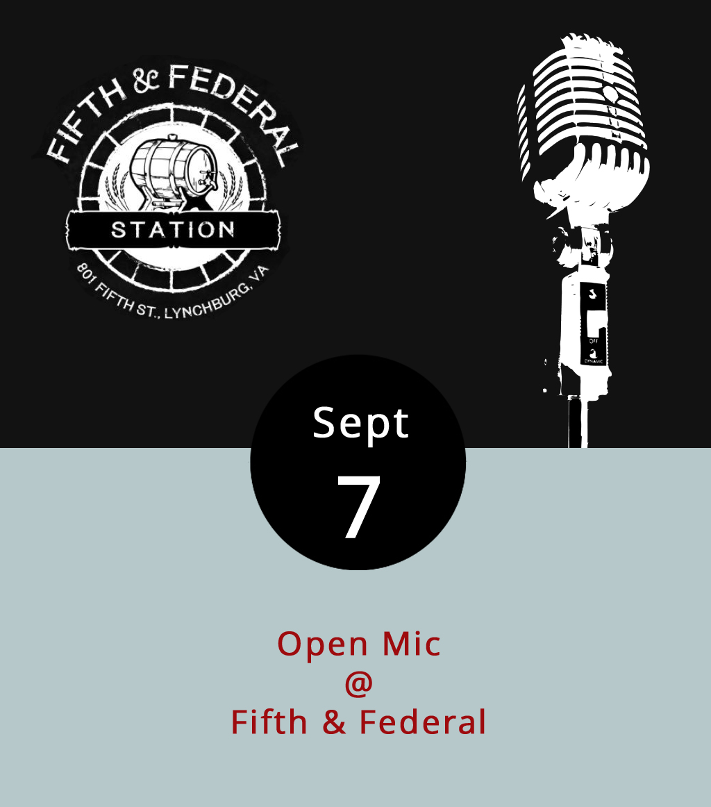 Neither rain, nor shine, nor excessive humidity have deterred the good folks at Fifth & Federal Station (801 Fifth St.) from braving what's becoming a pretty happening open mic night every Thursday from 8-11 p.m. It's a great setting for music, with an outdoor stage overlooking the green expanse flanked on one side by the restaurant's big glass garage doors and, on the other, by a bustling traffic circle. Fifth & Federal has a cool, barbecue-centric  menu , and like 57 or 58 different kinds of bourbon, whiskey, and rye, not to mention a solid selection of craft brews. Full disclosure: tonight's open mic is hosted by LynchburgDoes editor Matt Ashare and able multi-instrumentalist Bryan Herward, so we're sorta tooting our own horn. Call (434) 386-8113 or click  here for more info.