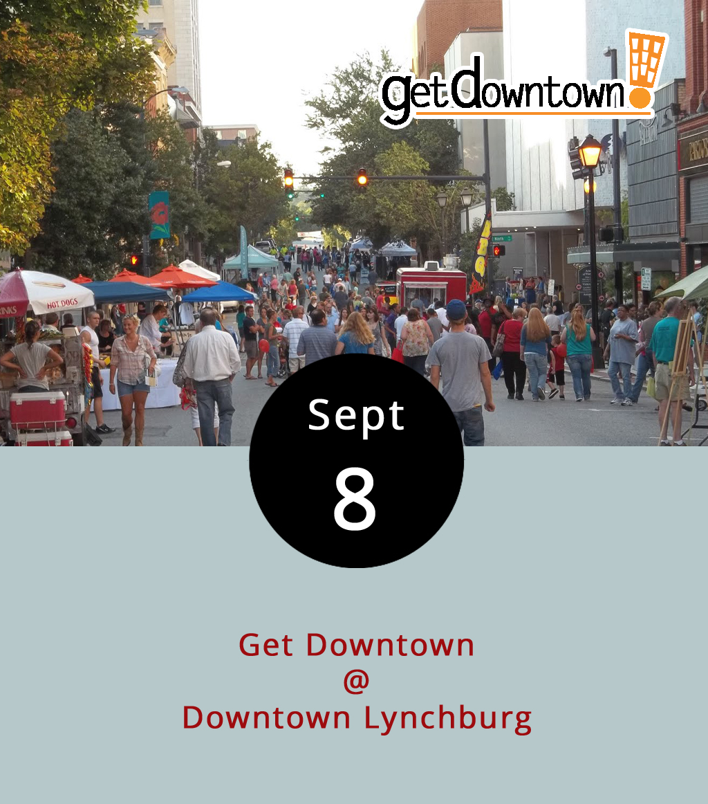 Downtown will be dressed to the nines tonight hoping to make an impression with all the food, music, and all-ages entertainment the Hill City can offer at one time in one place. The annual Get Downtown festival welcomes returning college students and marks a seasonal shift. It's about as crowded and festive as downtown Lynchburg gets. The festival takes place within the boundaries of Commerce, 8th, Church and Horseford streets. Along with all the downtown eateries, most of the city's food trucks will corral at the event, which will feature several mini concerts throughout. For the youngest among us, the Kids Zone will have games and activities, including giant legos, giant Jenga, and a sand box treasure hunt. At Lynchburg City Market (1219 Main St.), area artisans will show off their wares for the Makers Nite Market. It takes place from 6-9 p.m., with streets closing earlier, so plan accordingly. There's parking information and a map  here , including shuttles from 5:30-9:15 p.m. to and from the Madison Heights Goodwill (174 River James Dr.), Central Virginia Community College (3506 Wards Rd.), Lynchburg College (332 College St.) and Randolph College (2500 Rivermont Ave.). The Randolph stop does not have parking, though. Attendance is free. For more information, call (434) 485-7250.